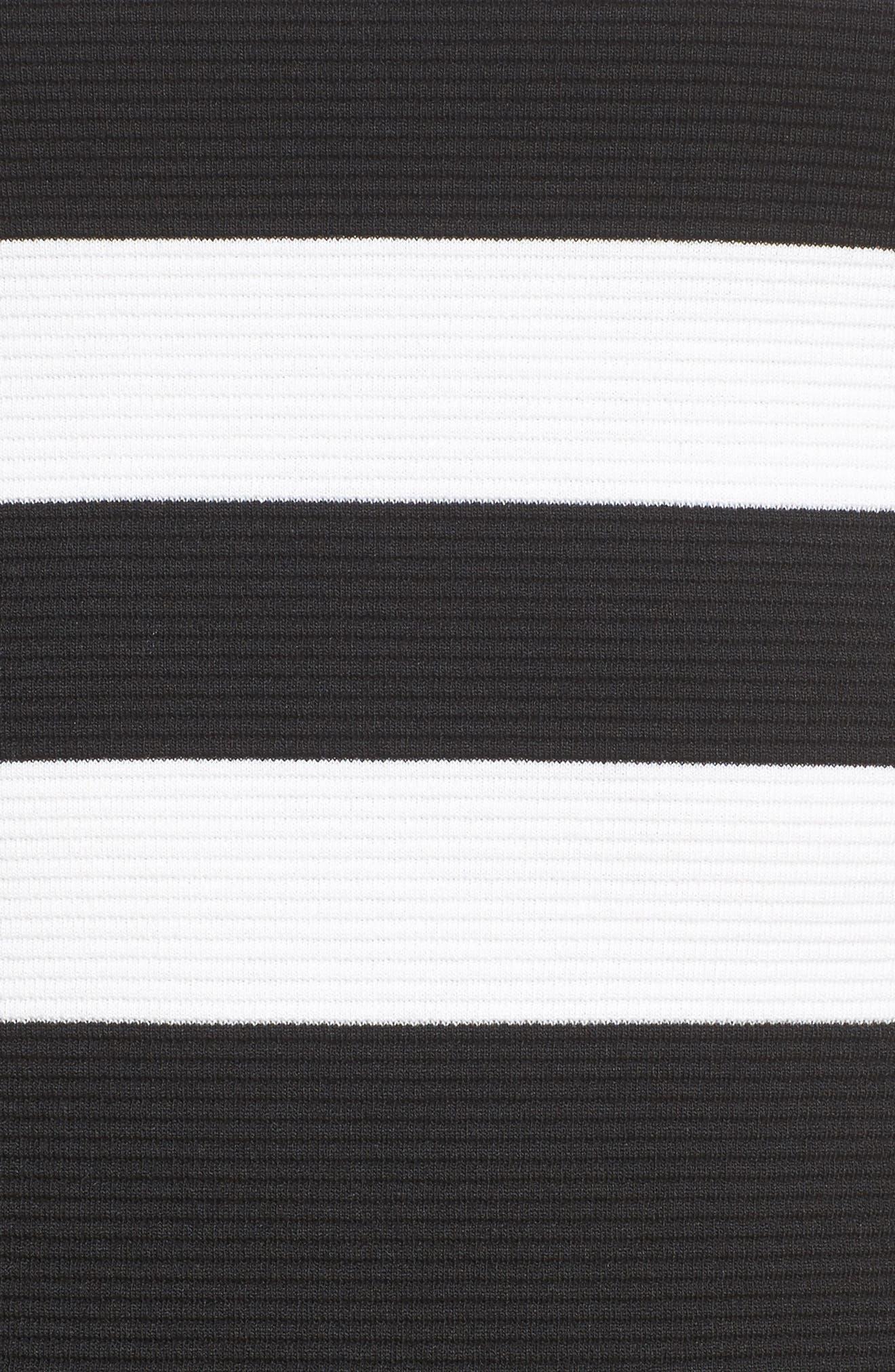 Stripe Ottoman Sheath Dress,                             Alternate thumbnail 5, color,                             Black/ White