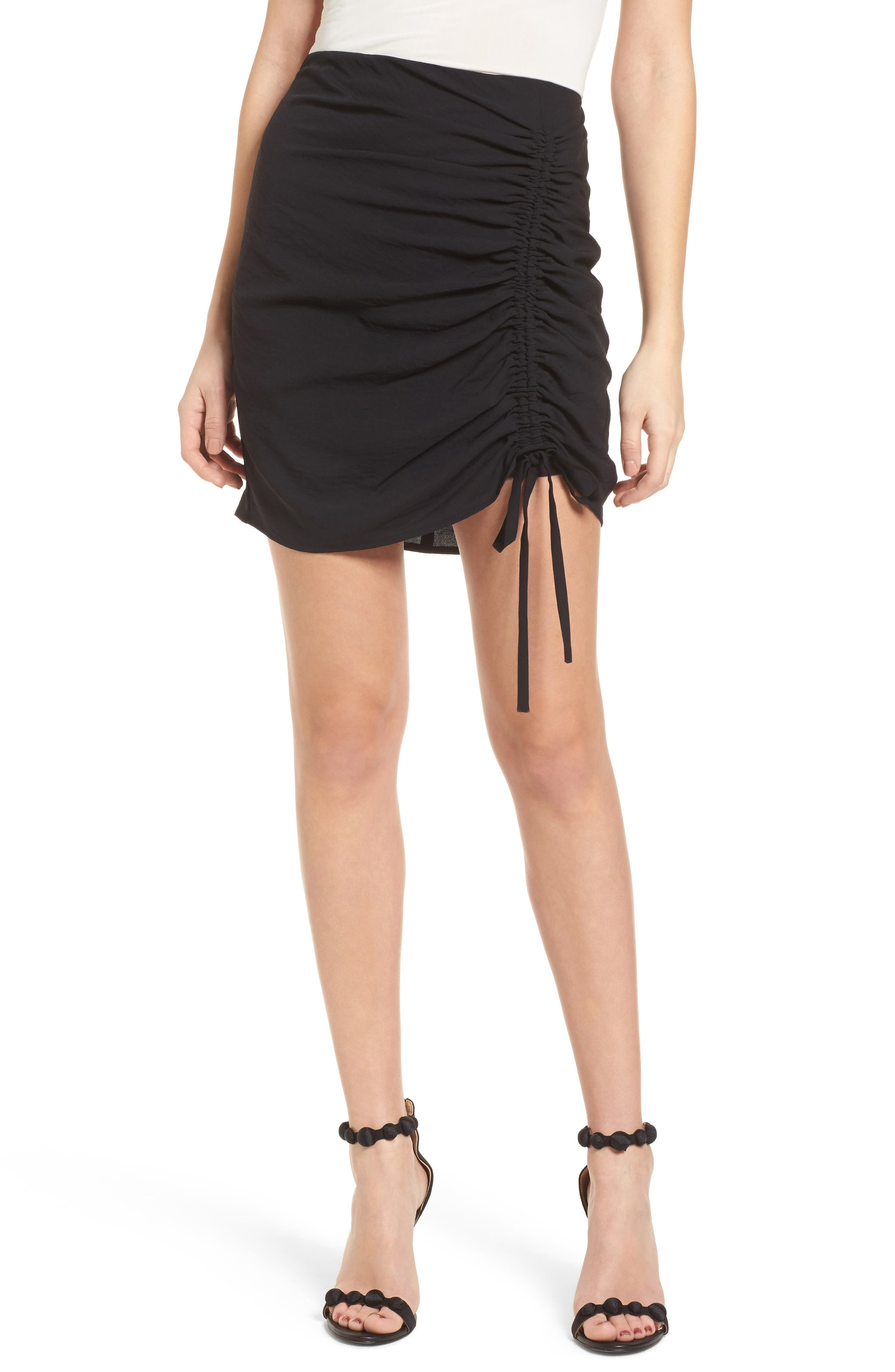 Cinch Hem Miniskirt,                         Main,                         color, Black