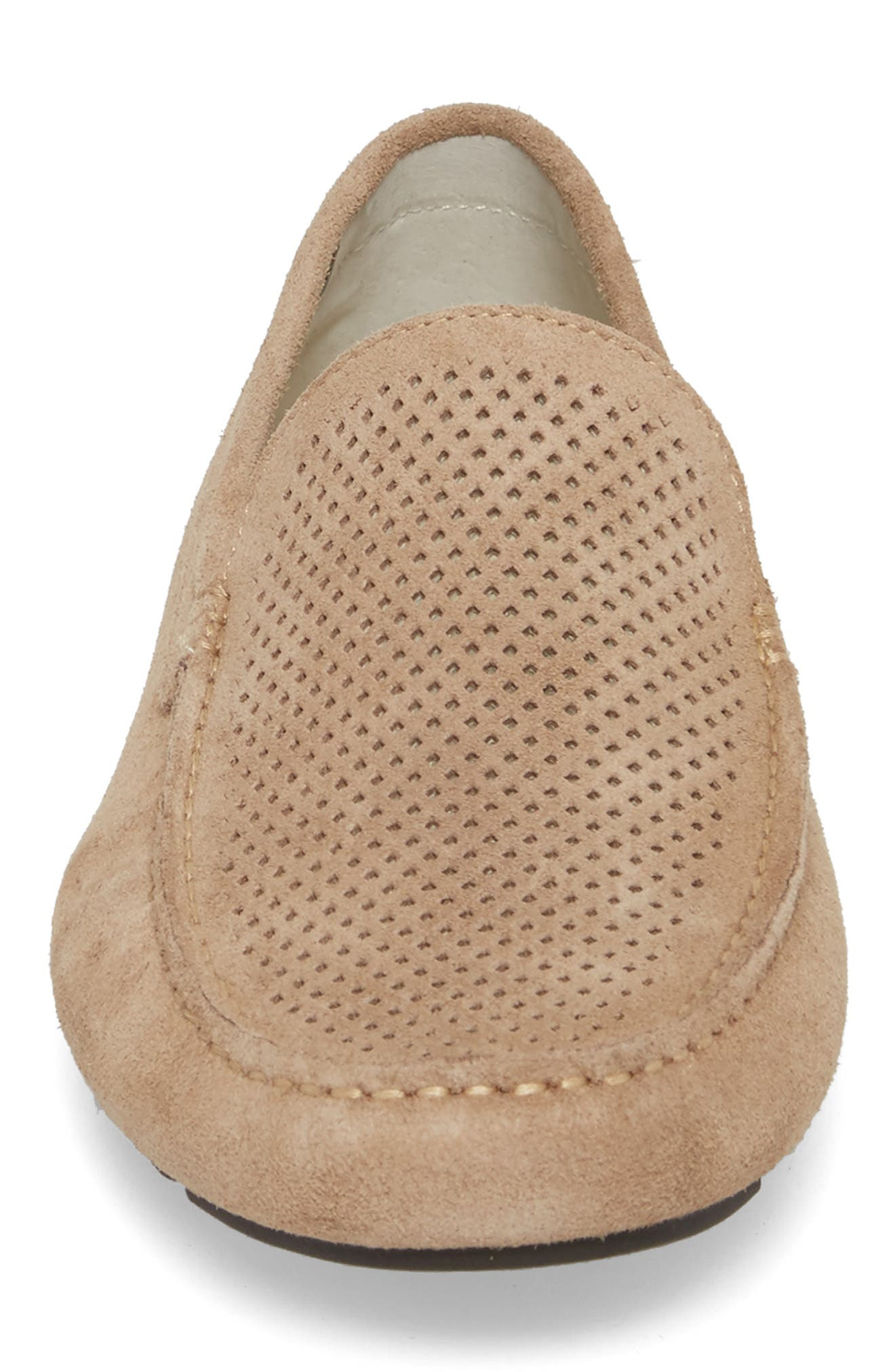 Scottsdale Perforated Driving Moccasin,                             Alternate thumbnail 4, color,                             Tan Suede