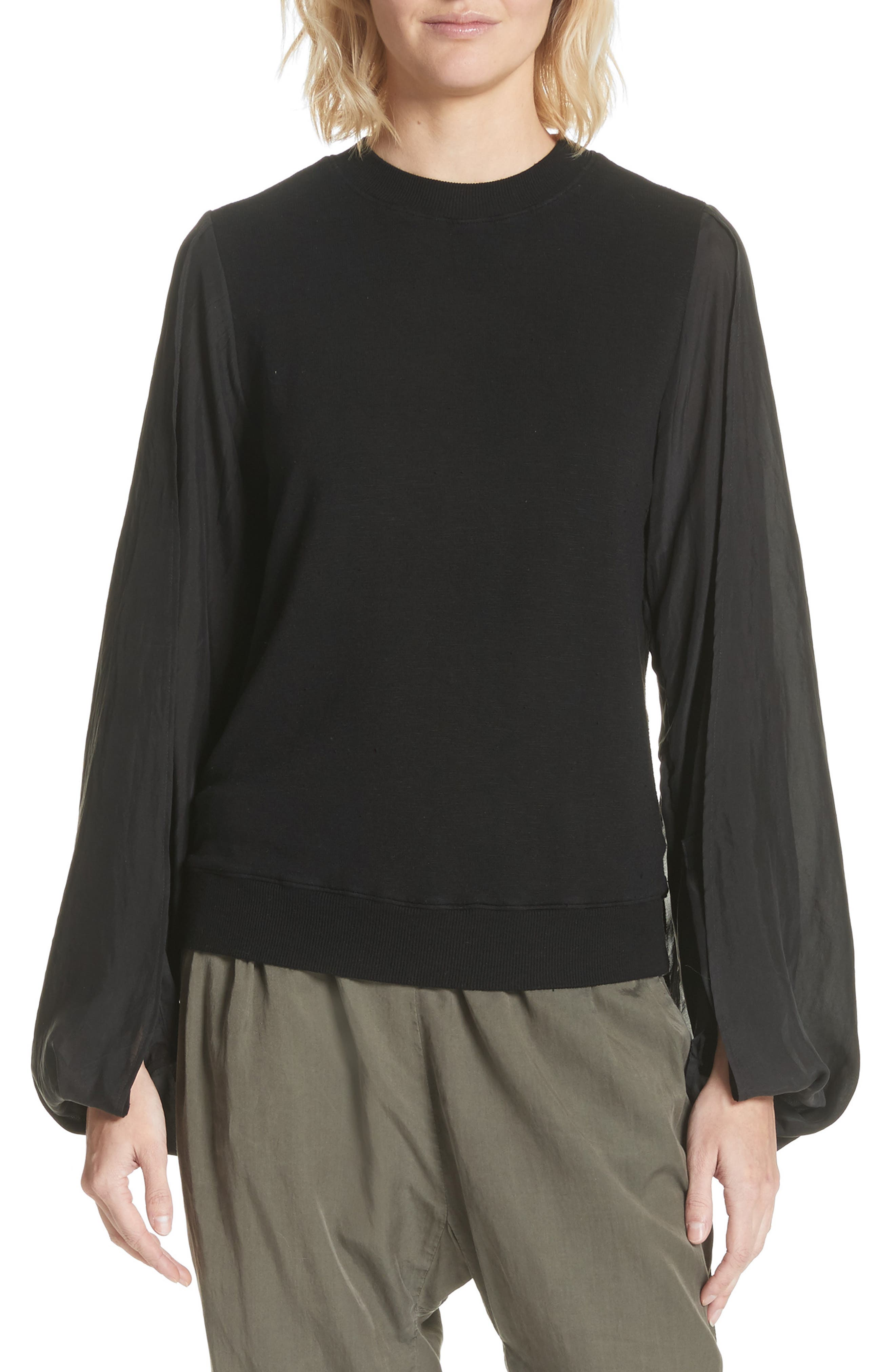 Contrast Sleeve Sweatshirt,                         Main,                         color, Black