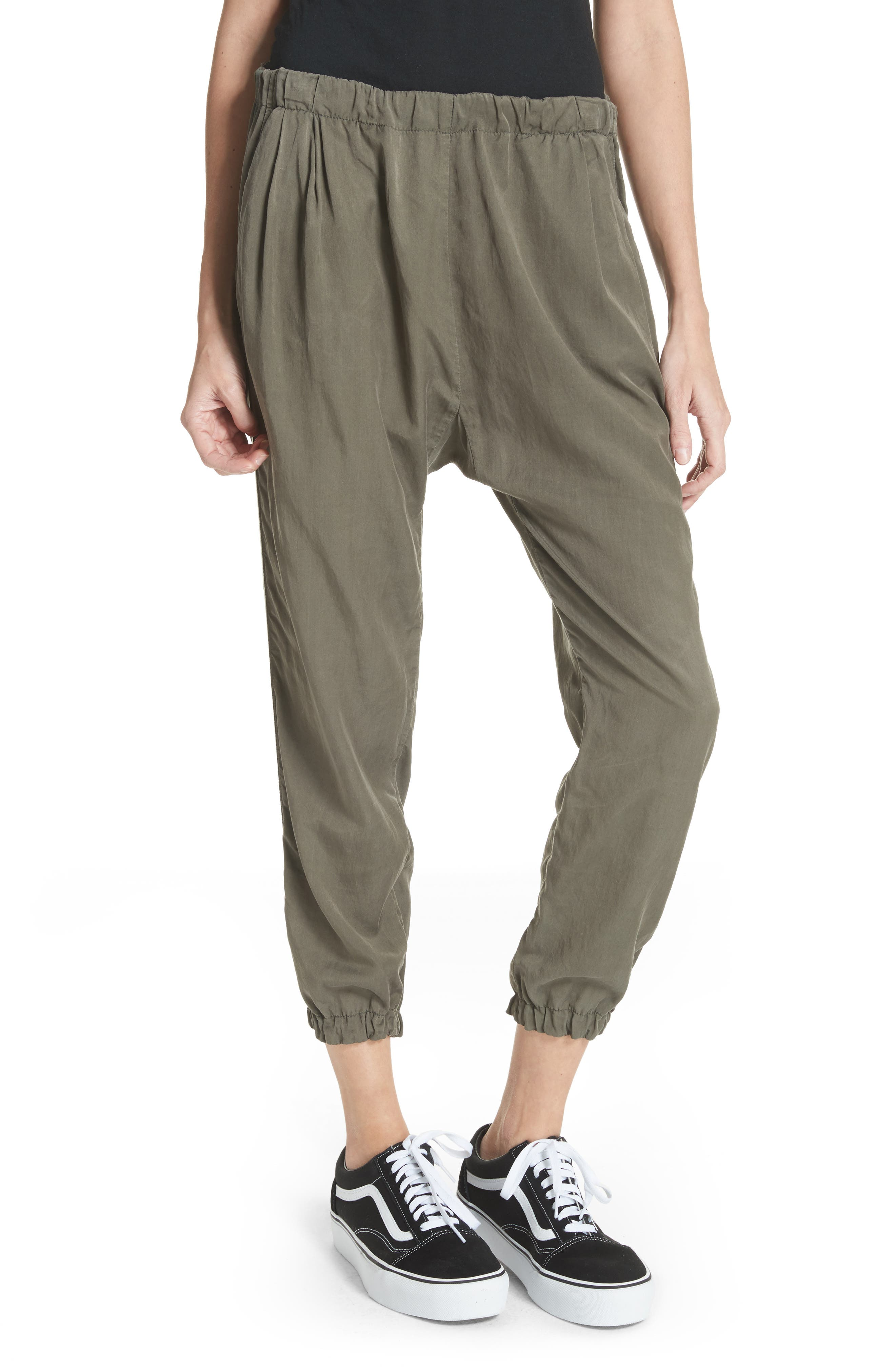 Silk Blend Track Pants,                         Main,                         color, Army Green