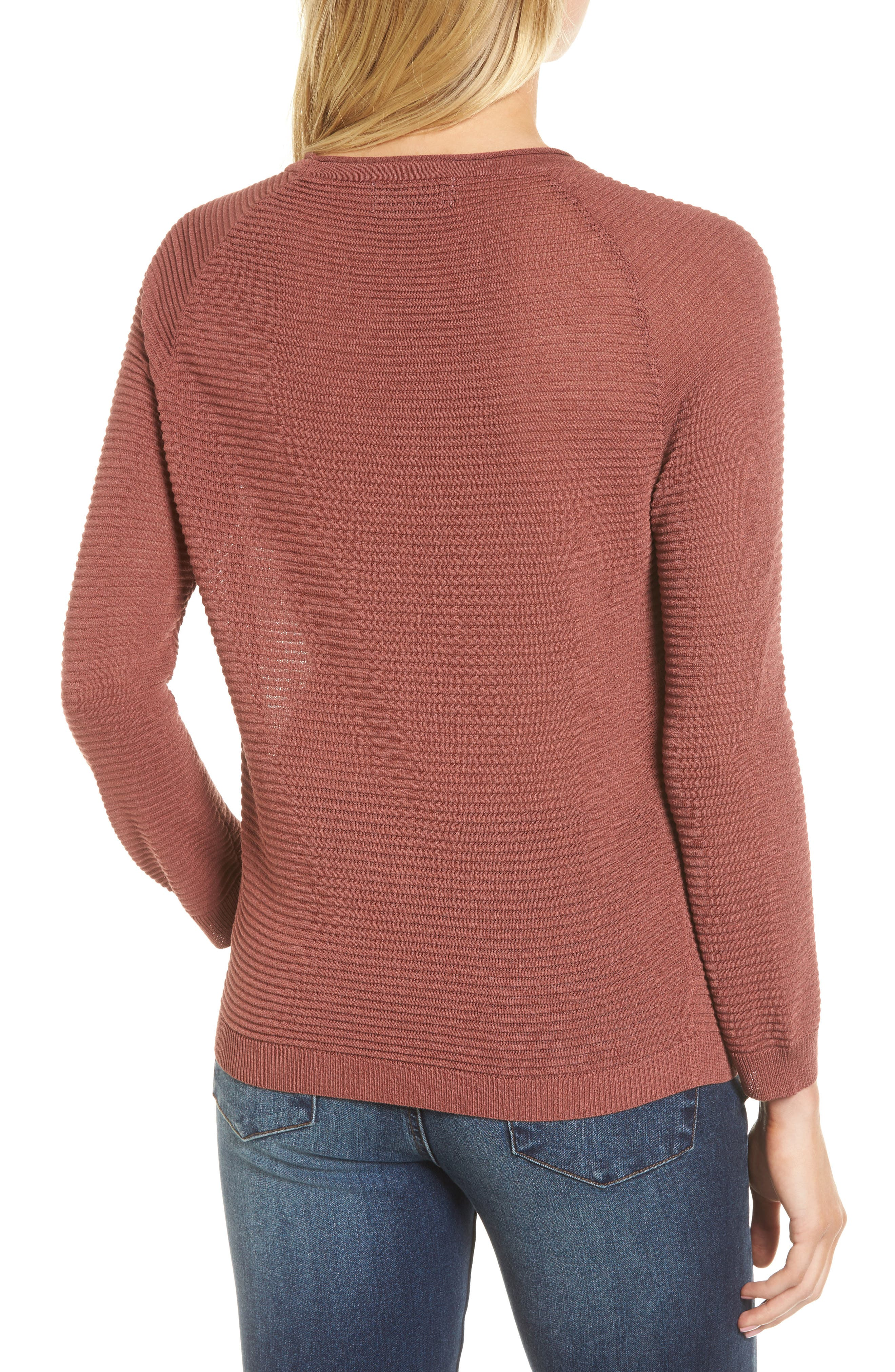 Ribbed Sweatshirt,                             Alternate thumbnail 3, color,                             Dusty Copper