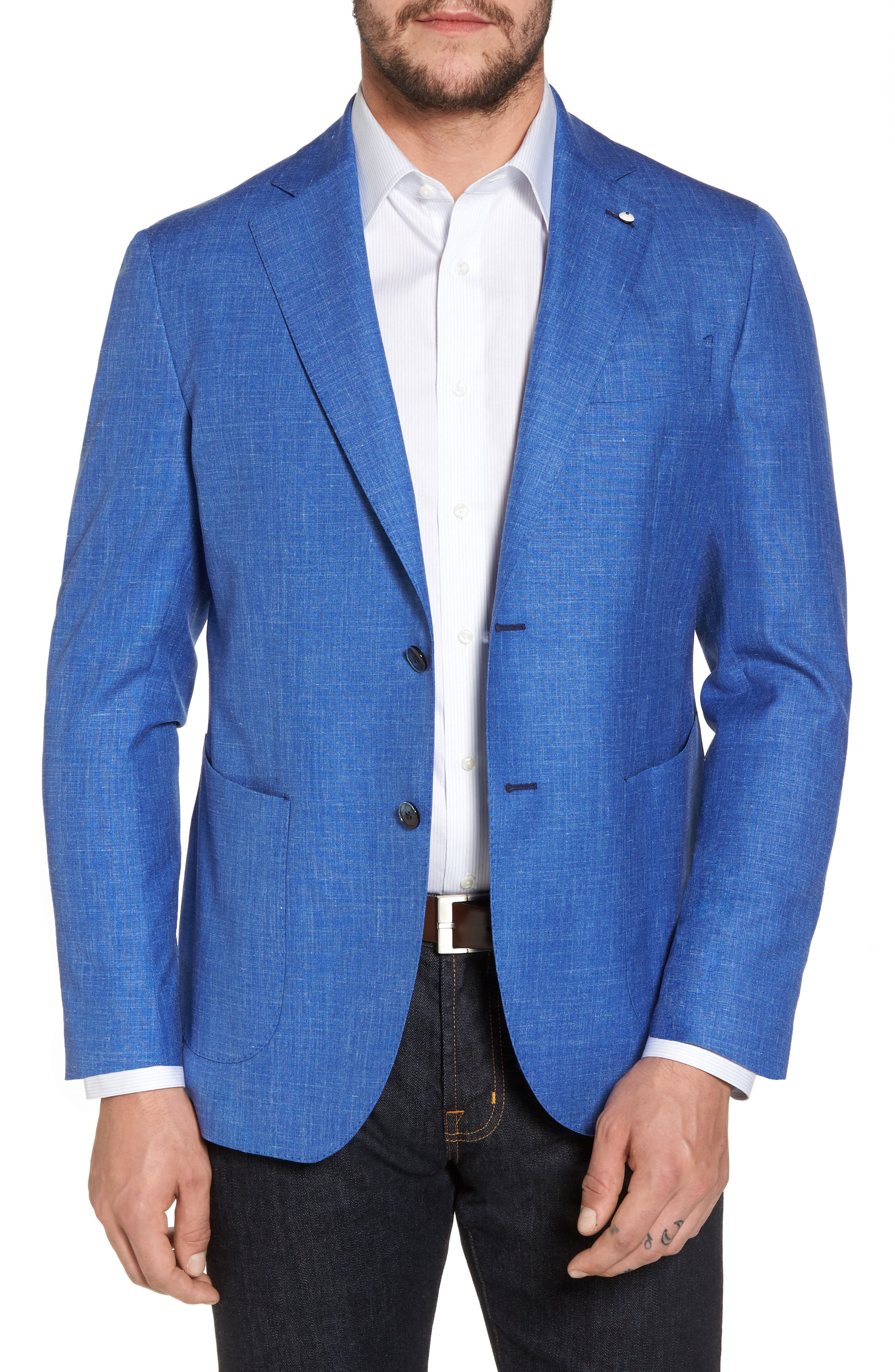 Classic Fit Wool Blend Blazer,                         Main,                         color, Navy