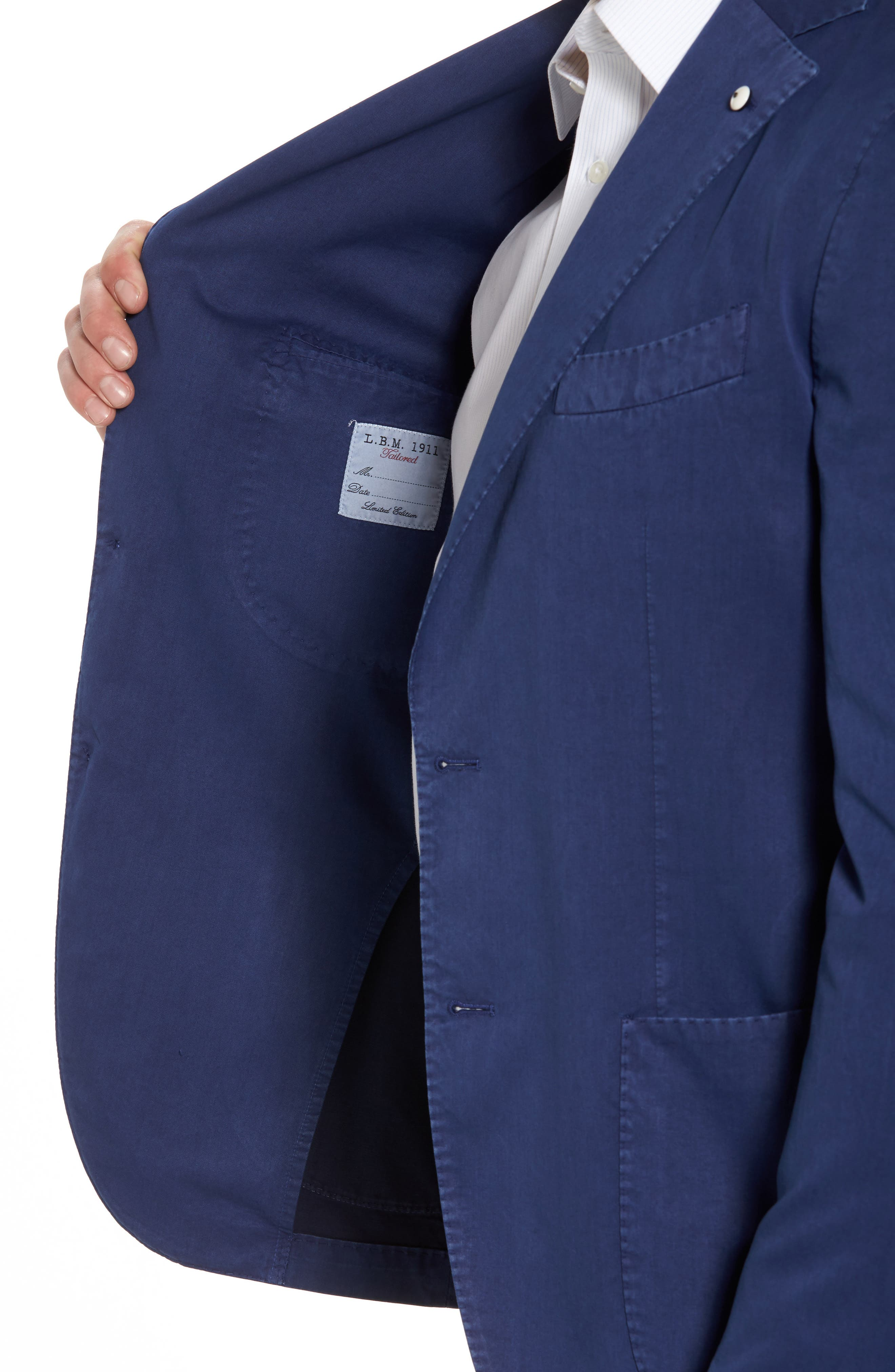 Classic Fit Cotton & Silk Blazer,                             Alternate thumbnail 4, color,                             Navy
