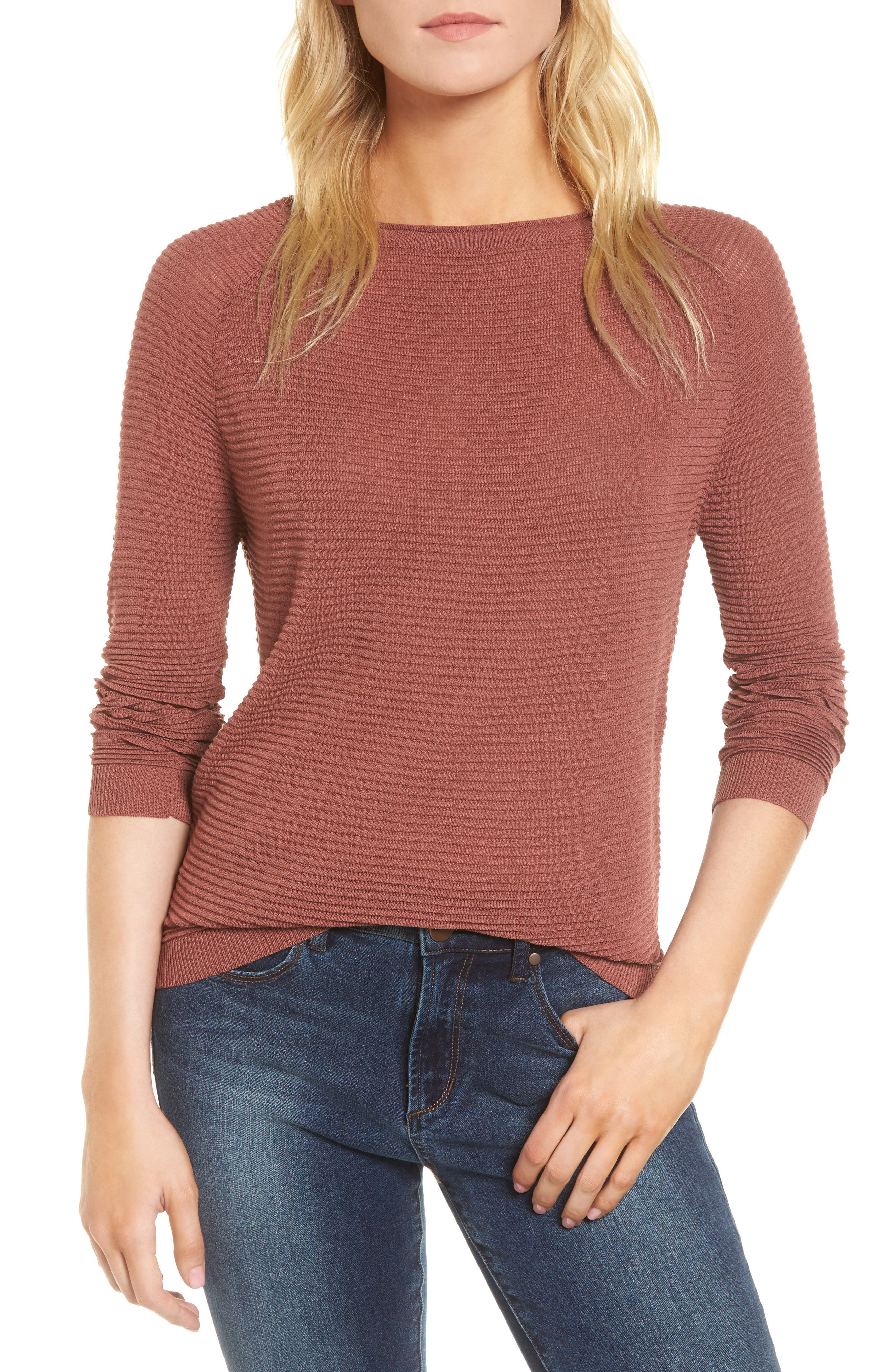 Ribbed Sweatshirt,                         Main,                         color, Dusty Copper