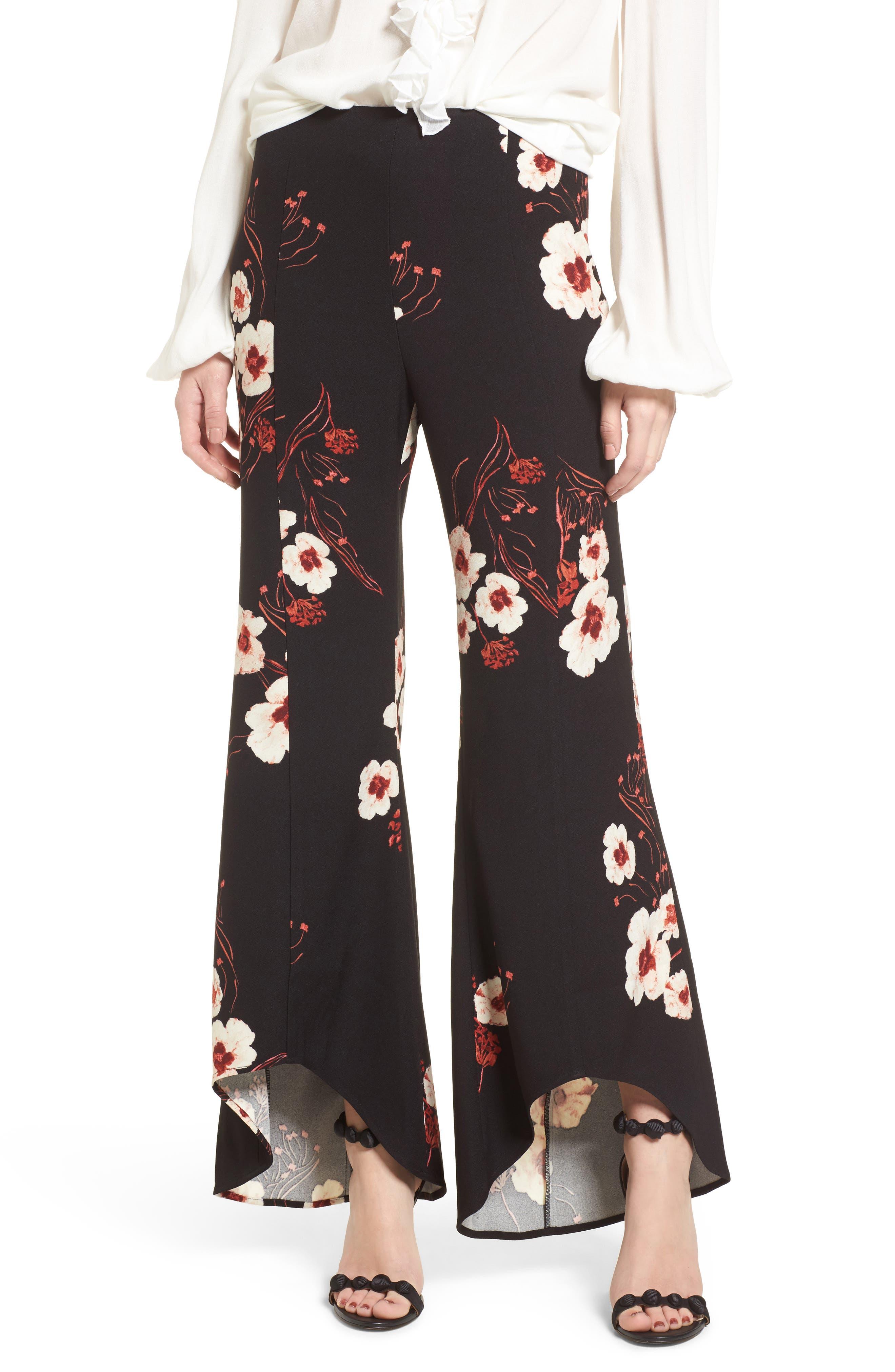 Flare Wide Leg Pants,                             Main thumbnail 1, color,                             Black Paint Flr
