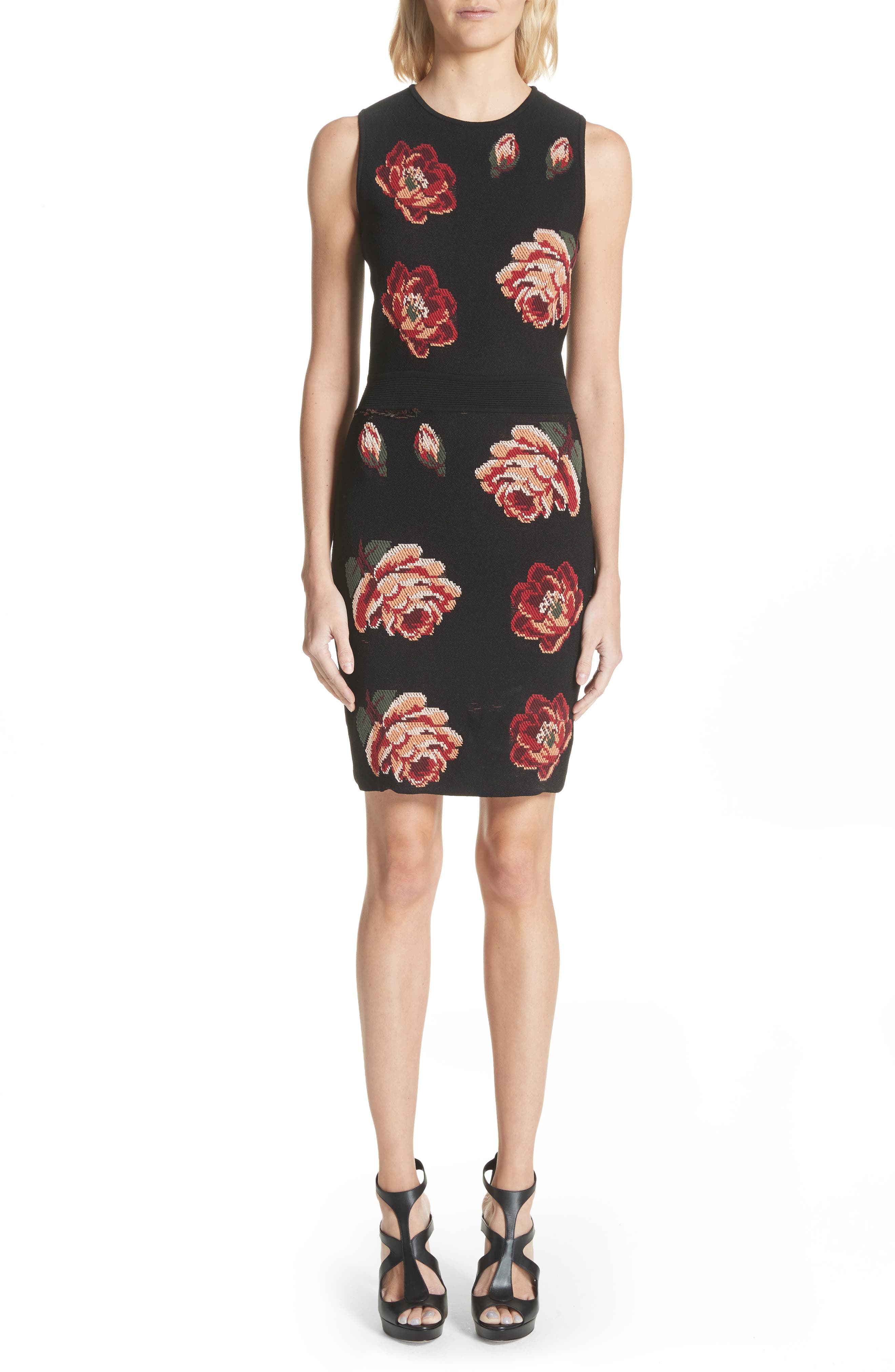 Intarsia Floral Print Dress,                         Main,                         color, Black/ Red/ Green