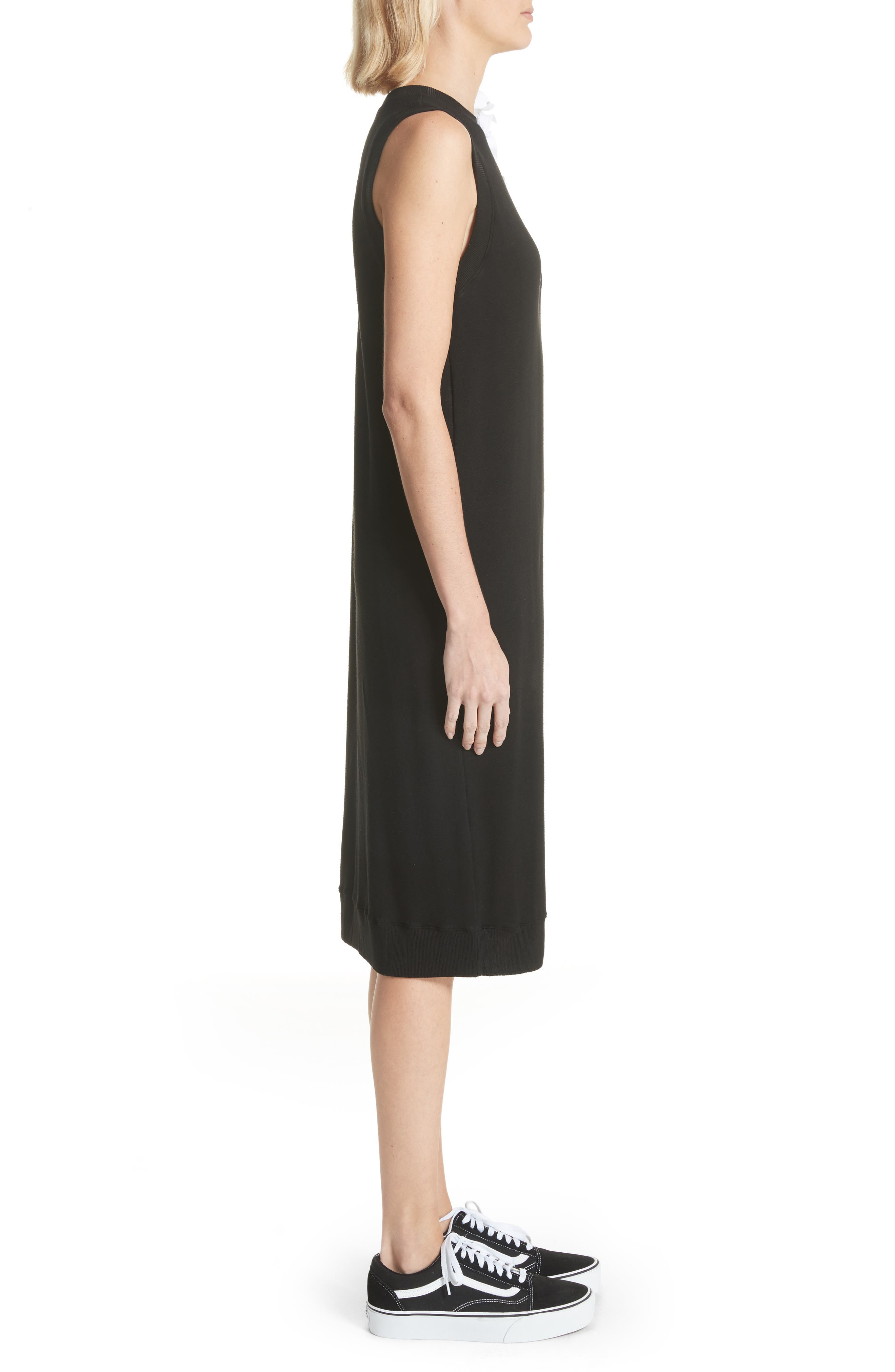 Bow Sleeve Midi Dress,                             Alternate thumbnail 3, color,                             Black