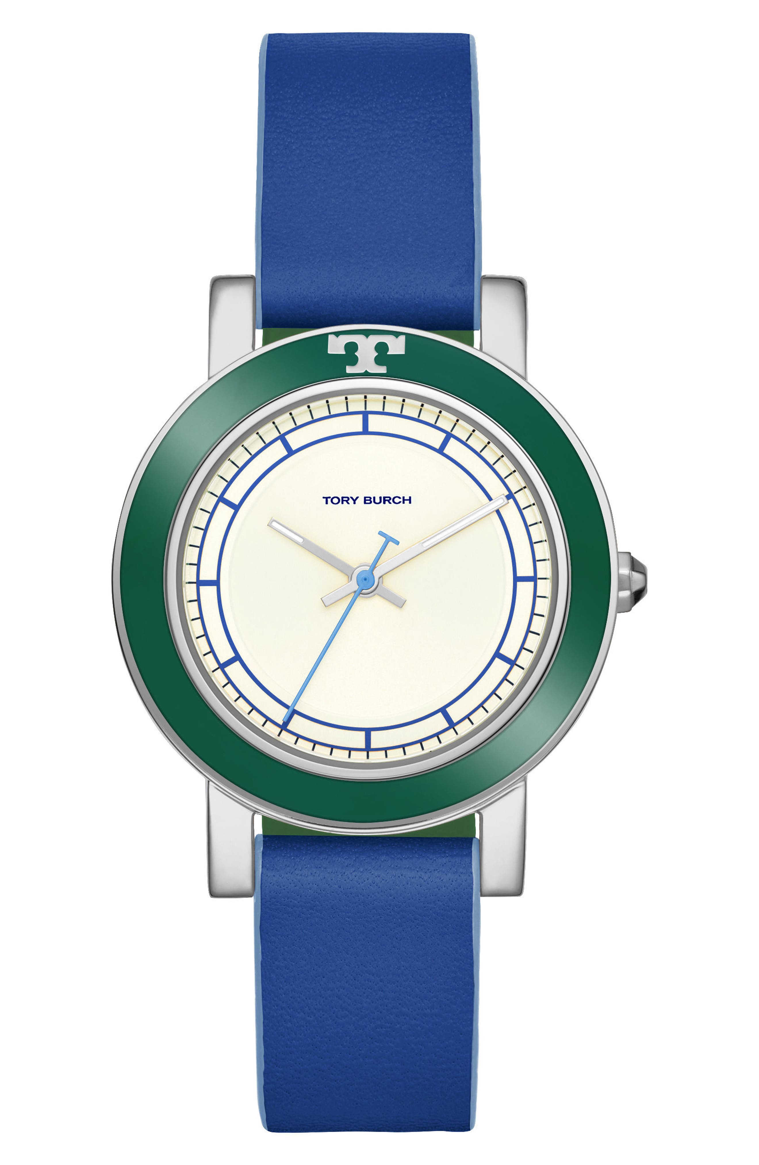 Ellsworth Leather Strap Watch, 36mm,                             Main thumbnail 1, color,                             Blue/ Cream/ Silver