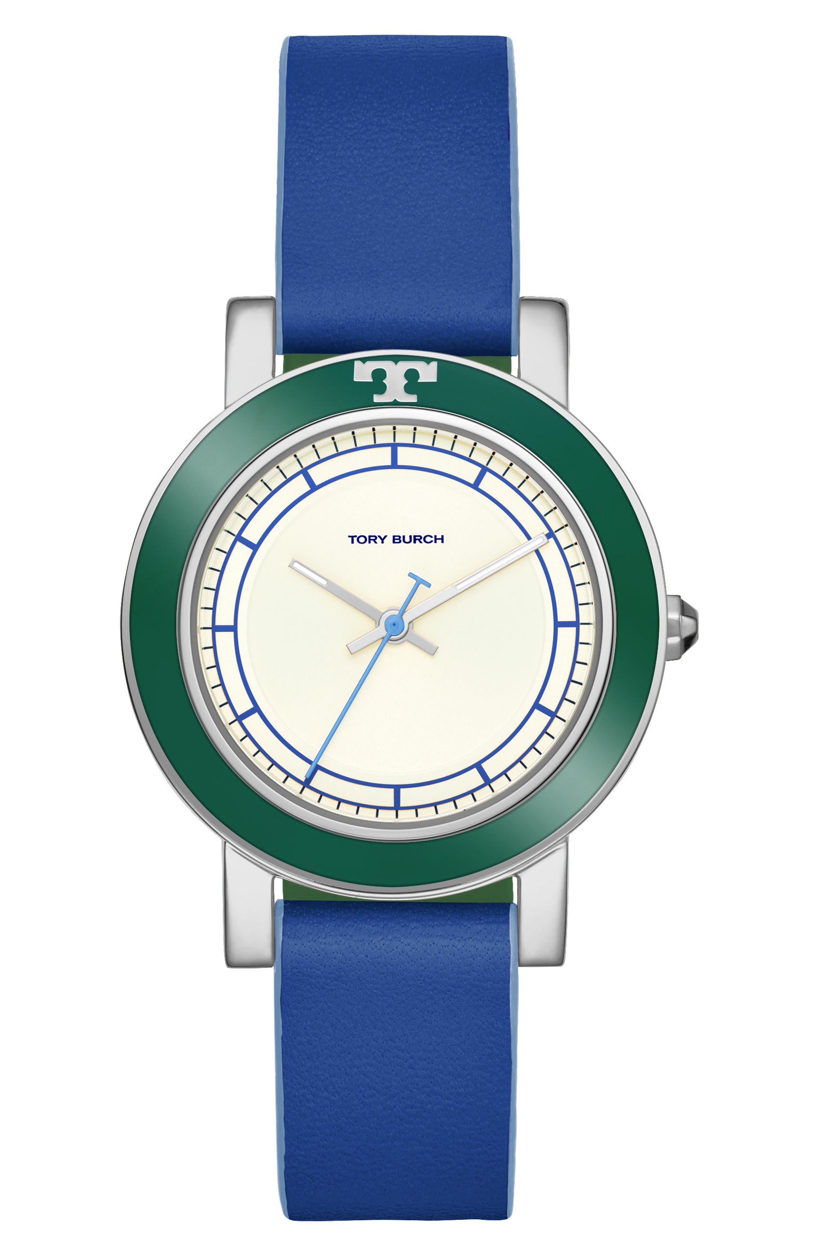 Ellsworth Leather Strap Watch, 36mm,                         Main,                         color, Blue/ Cream/ Silver