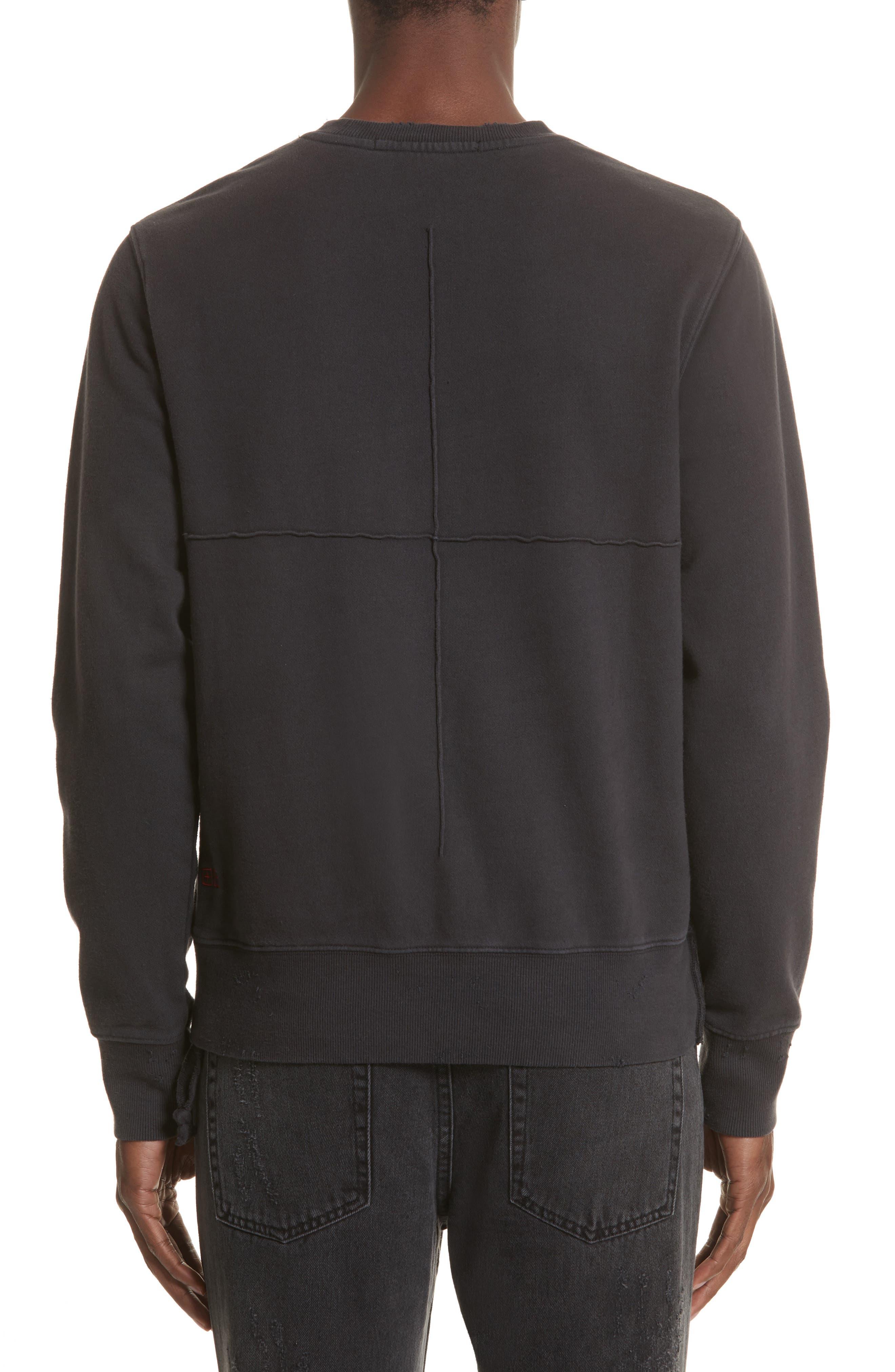 Pins Distressed Sweatshirt,                             Alternate thumbnail 2, color,                             Black