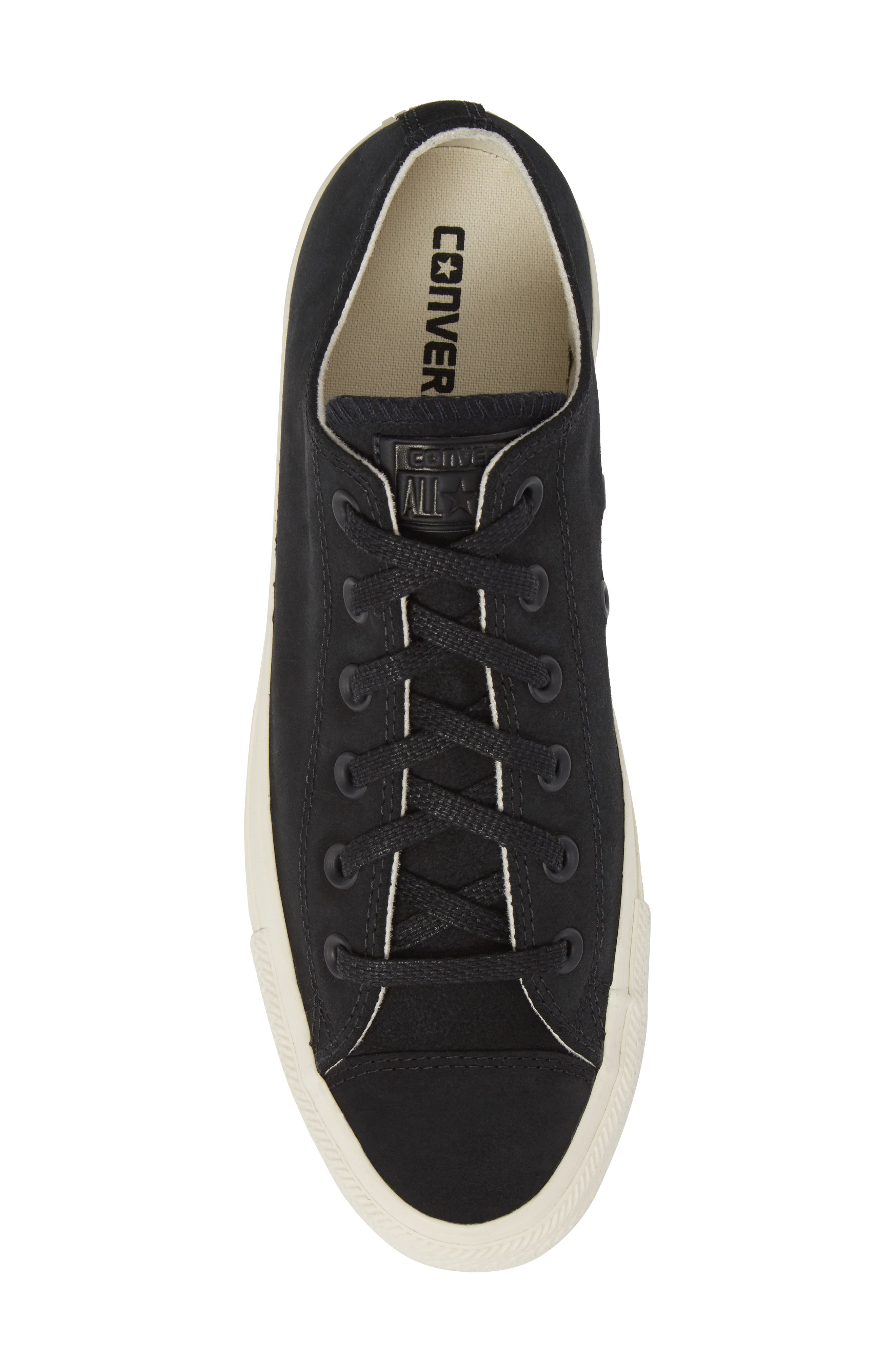 Chuck Taylor<sup>®</sup> All Star<sup>®</sup> Low Top Sneaker,                             Alternate thumbnail 5, color,                             Black Leather