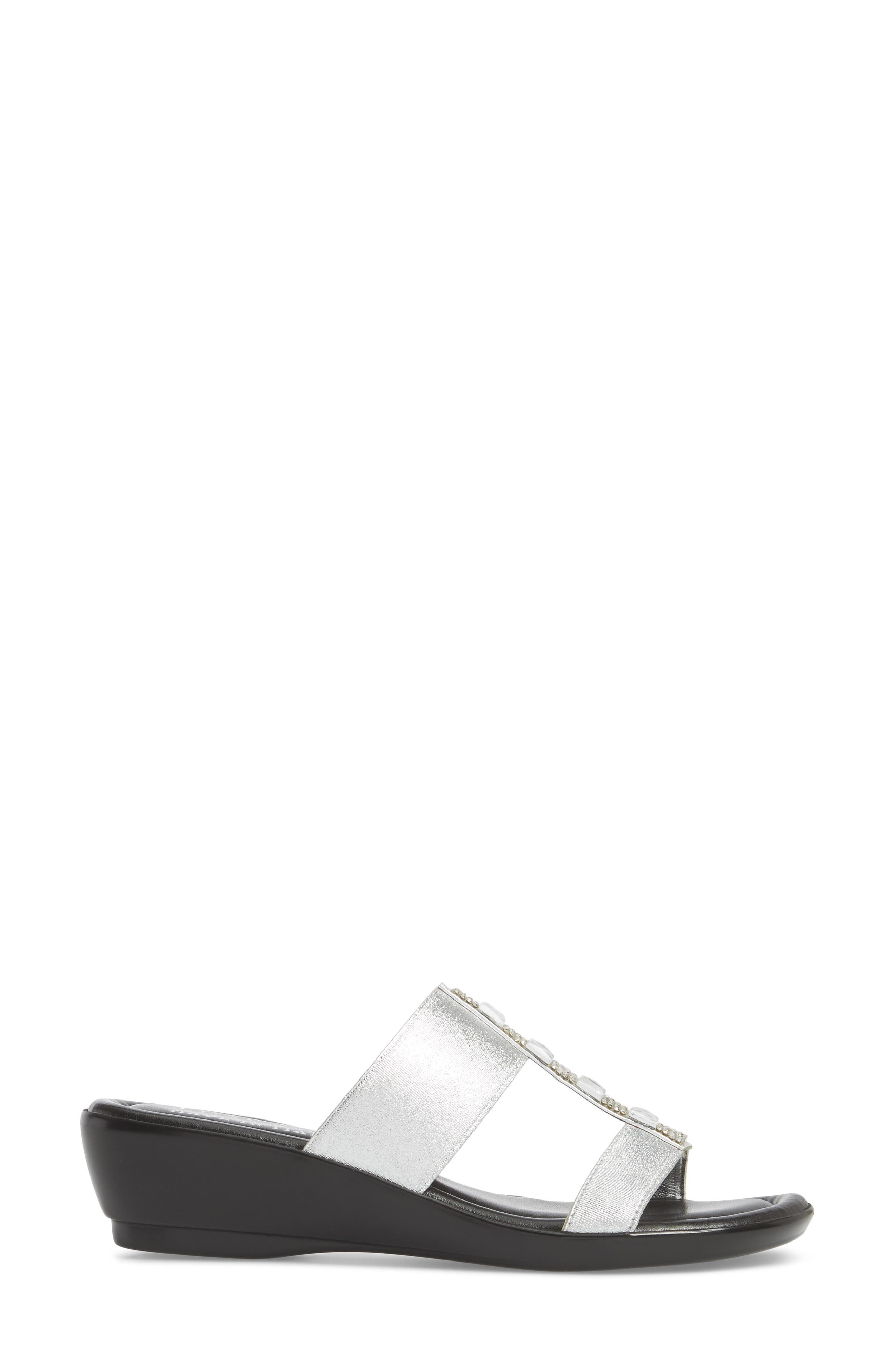 by Easy Street<sup>®</sup> Elba Embellished Slide Sandal,                             Alternate thumbnail 3, color,                             Silver Stretch Faux Leather