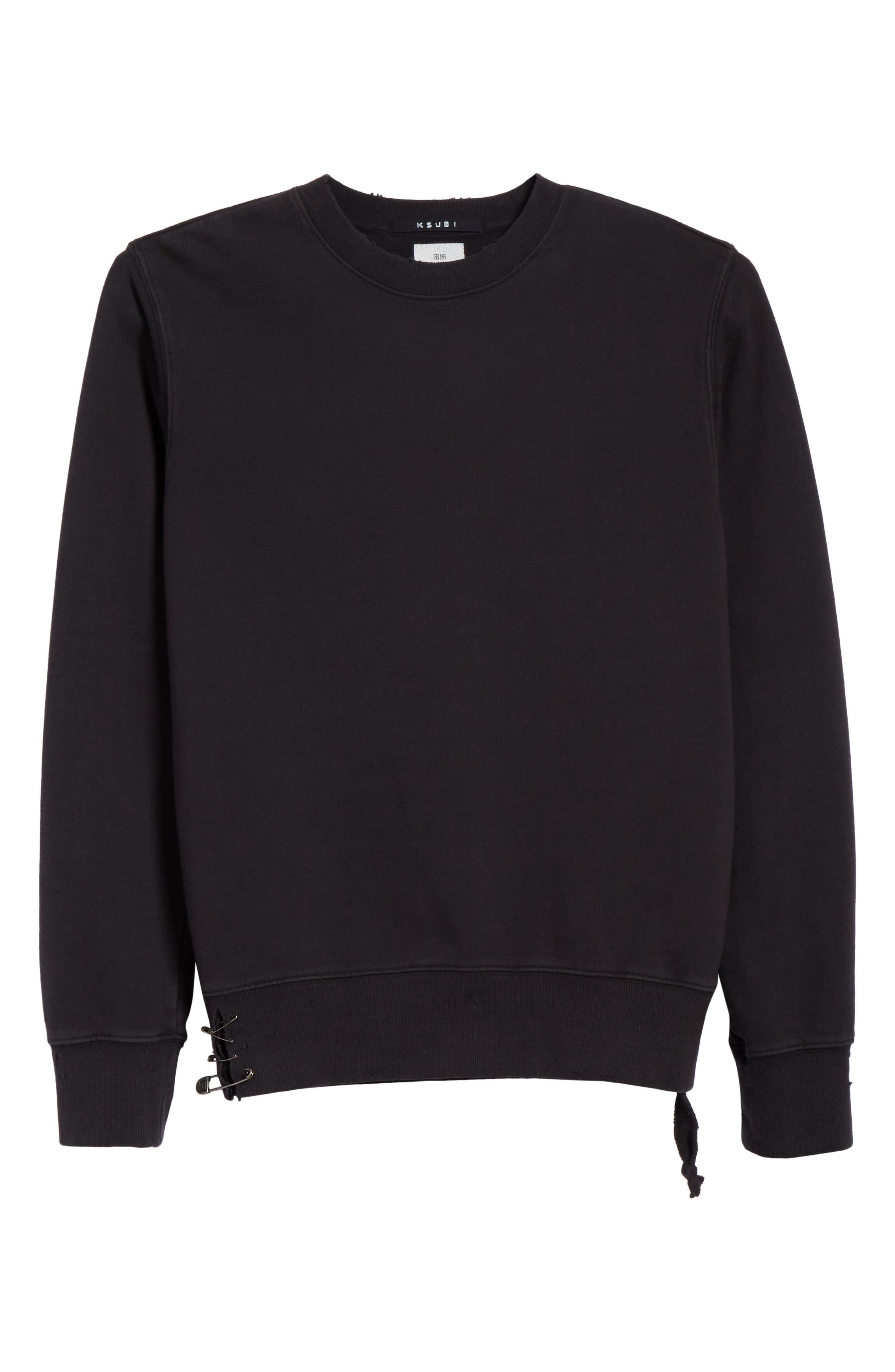 Pins Distressed Sweatshirt,                             Alternate thumbnail 6, color,                             Black