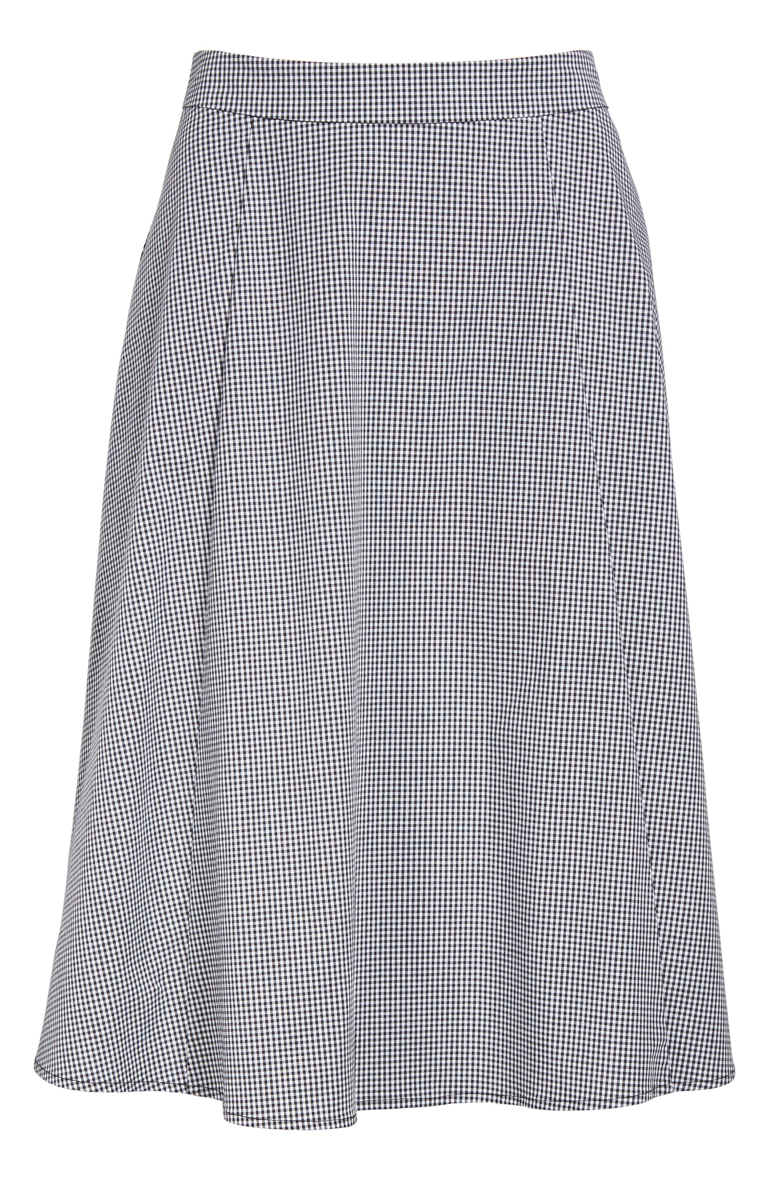 Gingham A-Line Skirt,                             Alternate thumbnail 6, color,                             Black/ White
