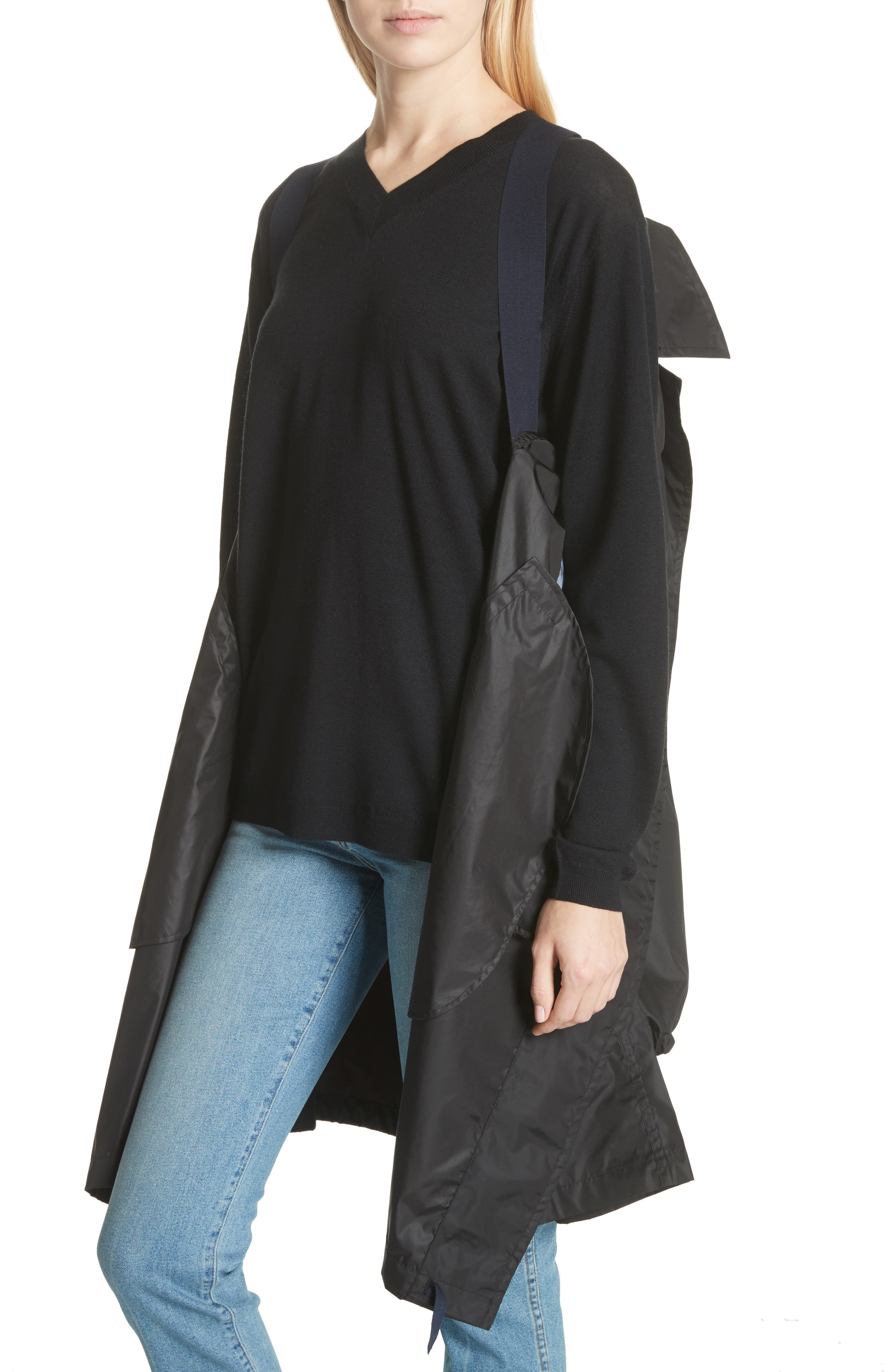 Raincoat with Inside Suspenders,                             Alternate thumbnail 2, color,                             Black
