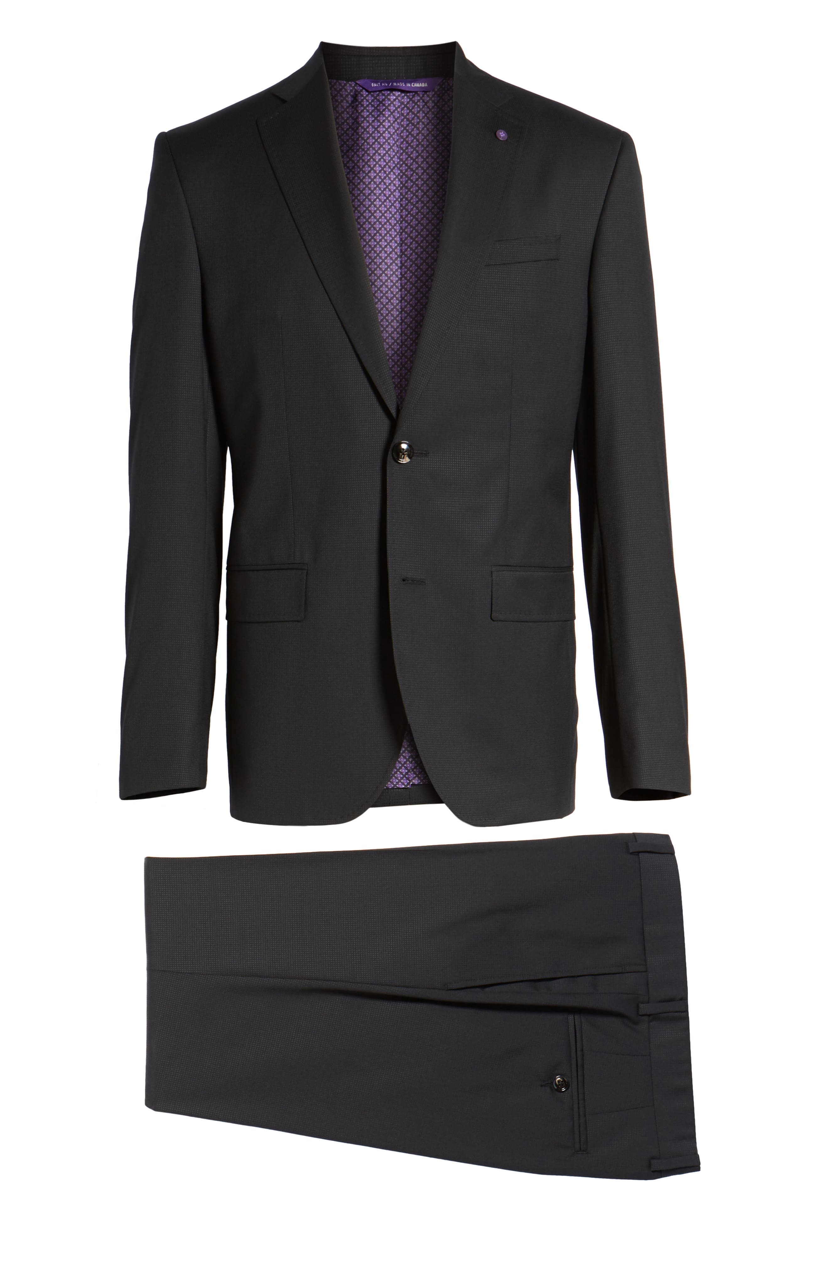 Roger Extra Slim Fit Solid Wool Suit,                             Alternate thumbnail 8, color,                             Black