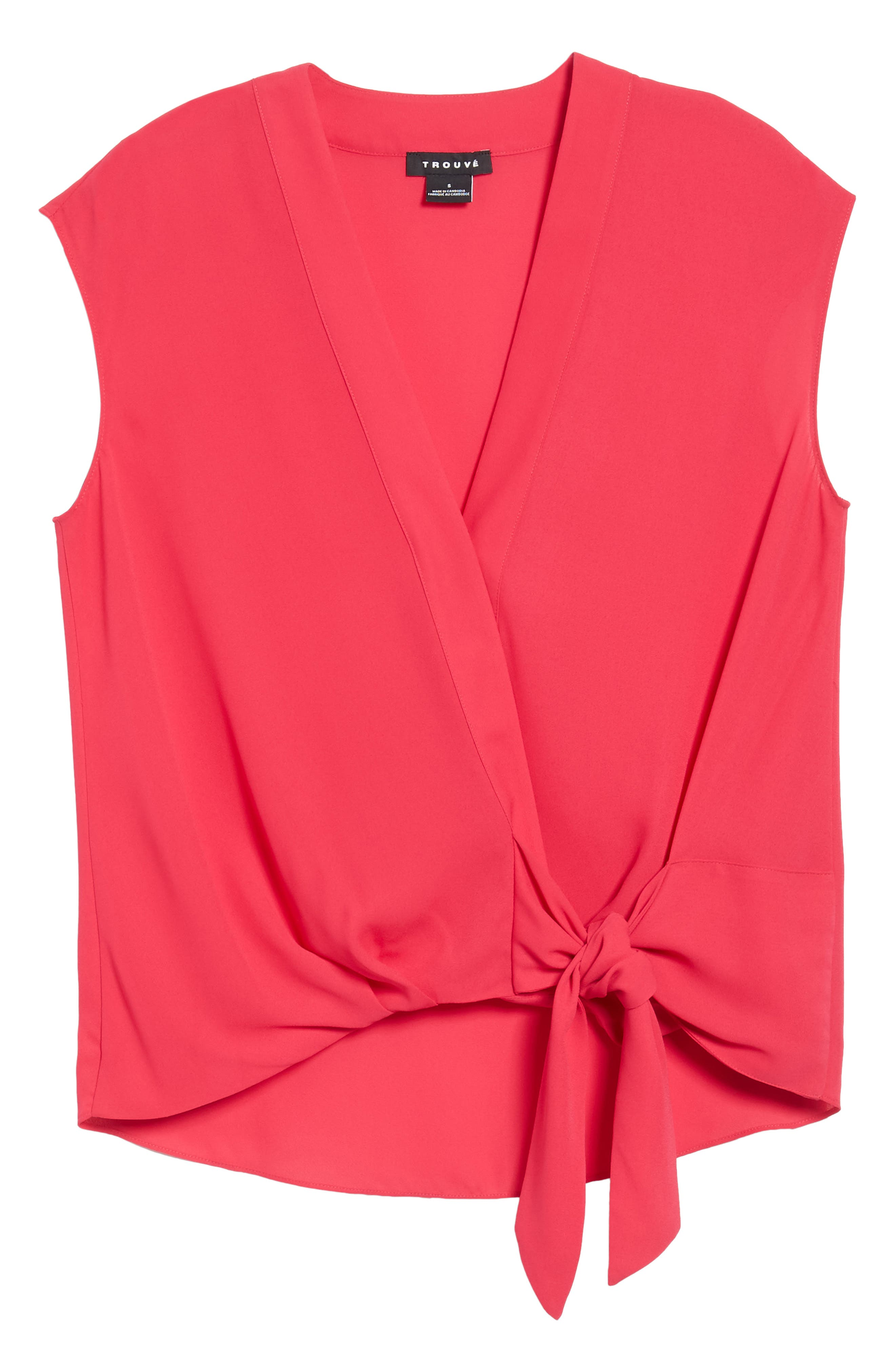 Wrap Top,                             Alternate thumbnail 6, color,                             Pink Bright