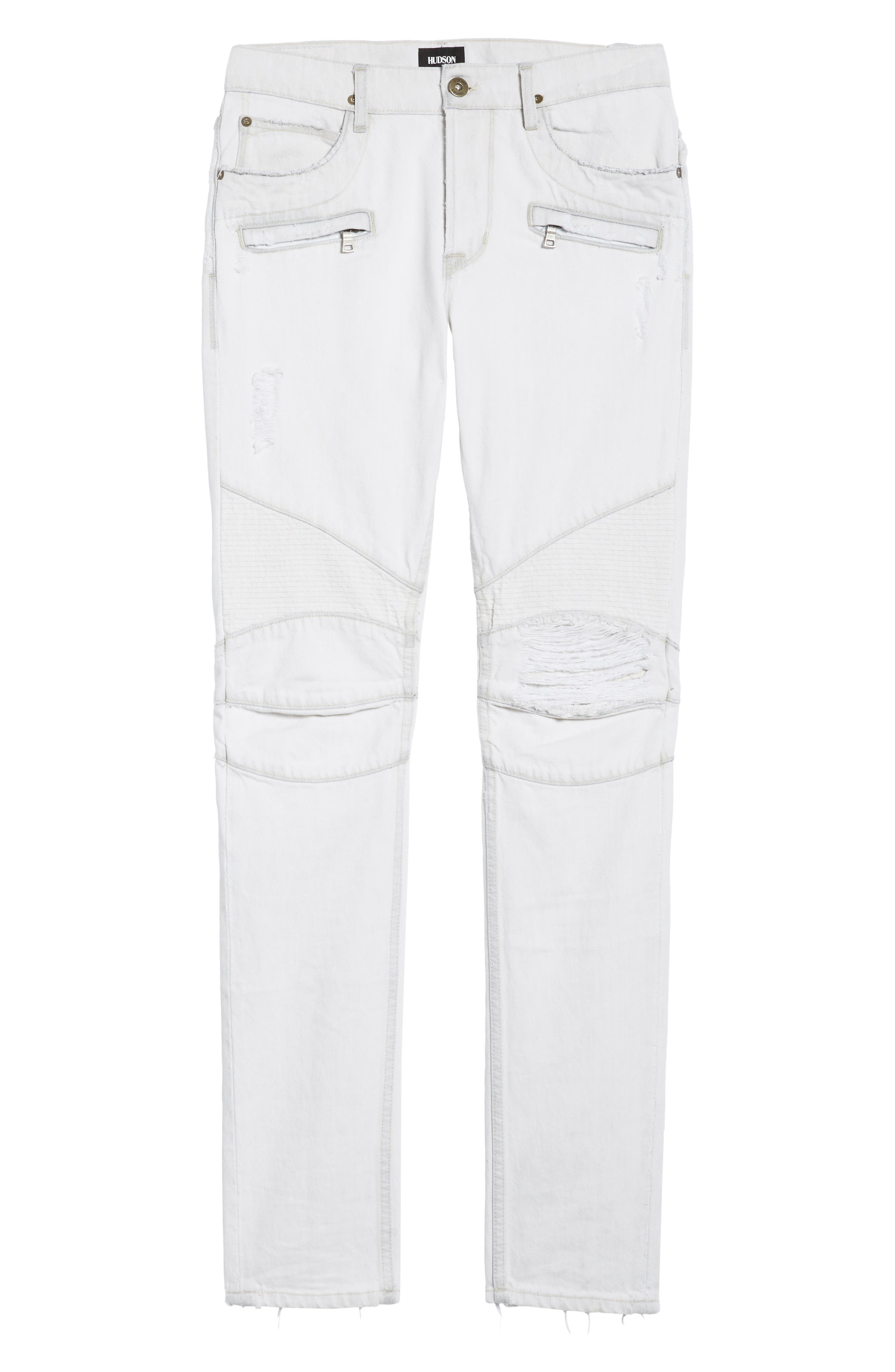 Blinder Biker Skinny Fit Moto Jeans,                             Alternate thumbnail 6, color,                             Extracted White