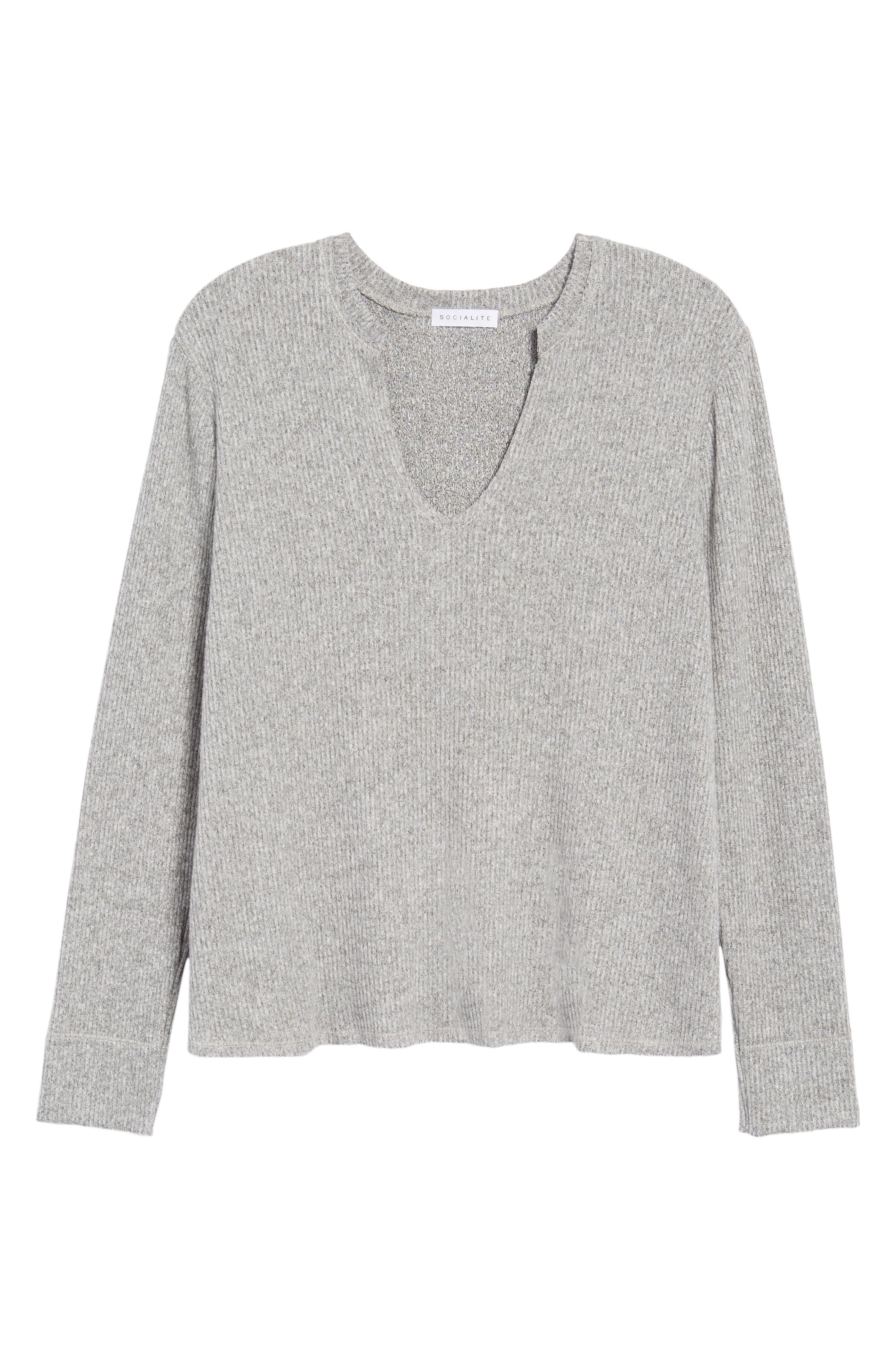 Ribbed Split Neck Sweater,                             Alternate thumbnail 6, color,                             Grey