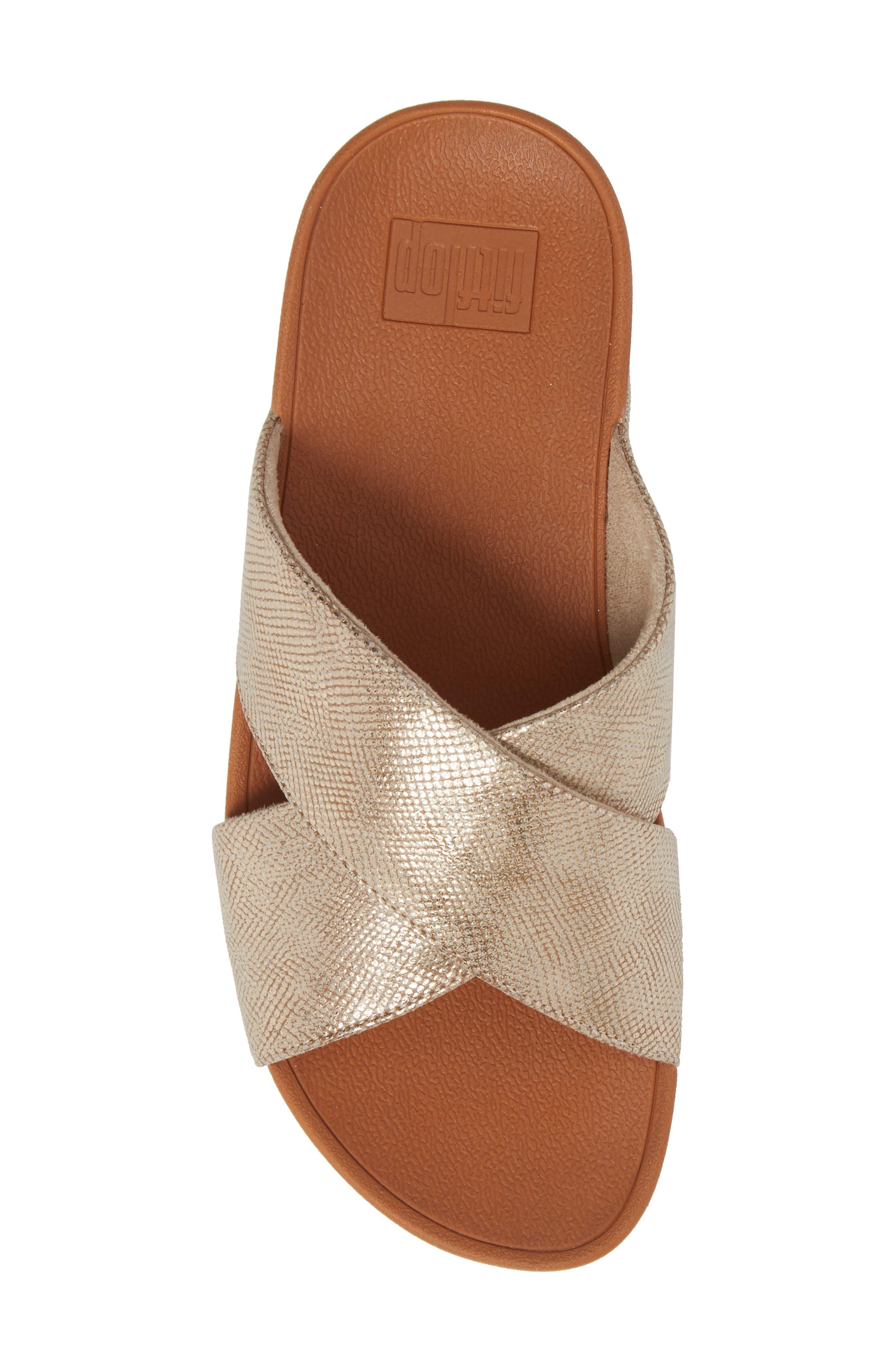 Lulu Cross Slide Sandal,                             Alternate thumbnail 5, color,                             Gold Shimmer Print