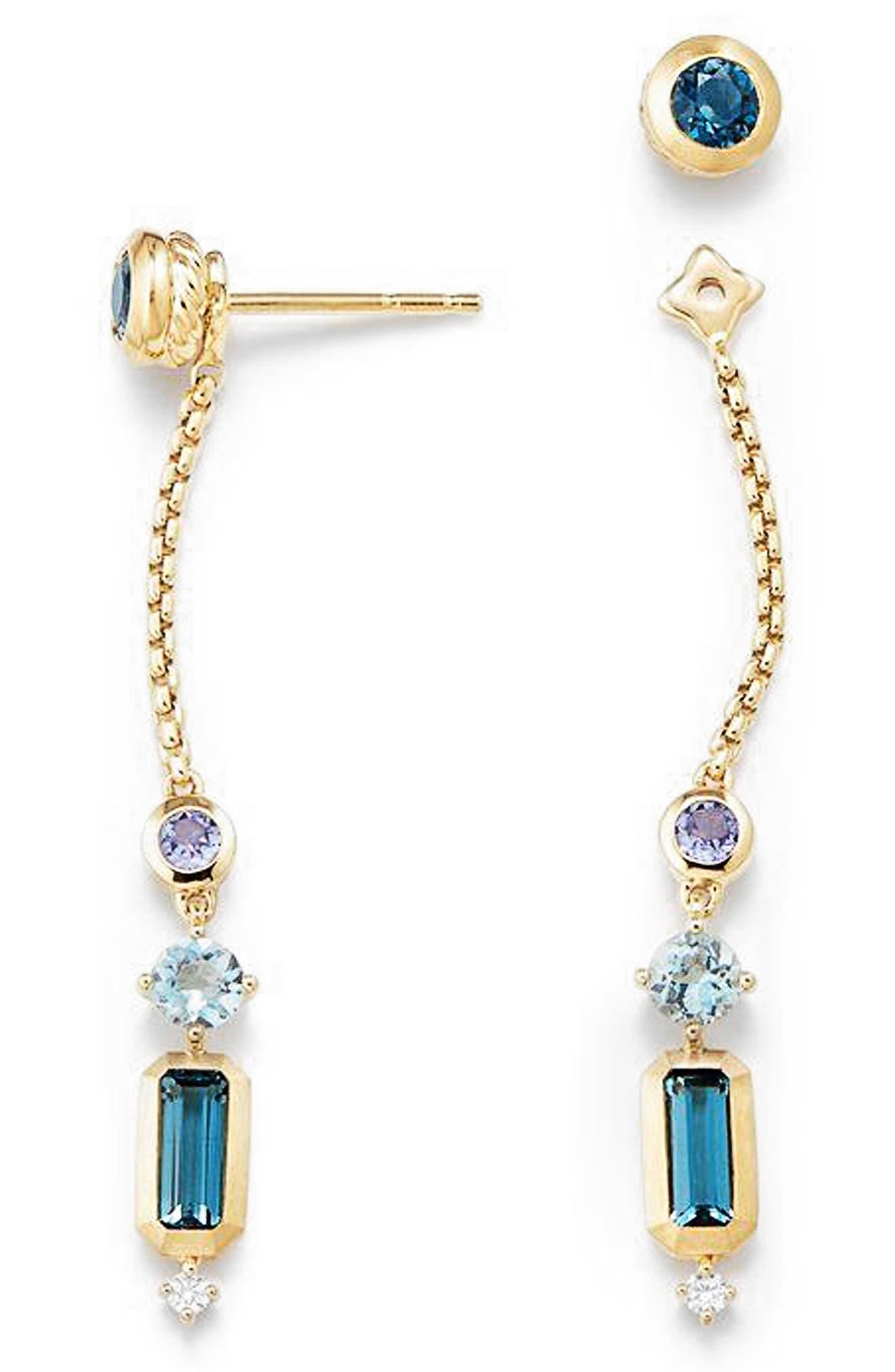 Novella Drop Earrings with Diamonds,                             Alternate thumbnail 2, color,                             Gold/ Hampton Blue Topaz