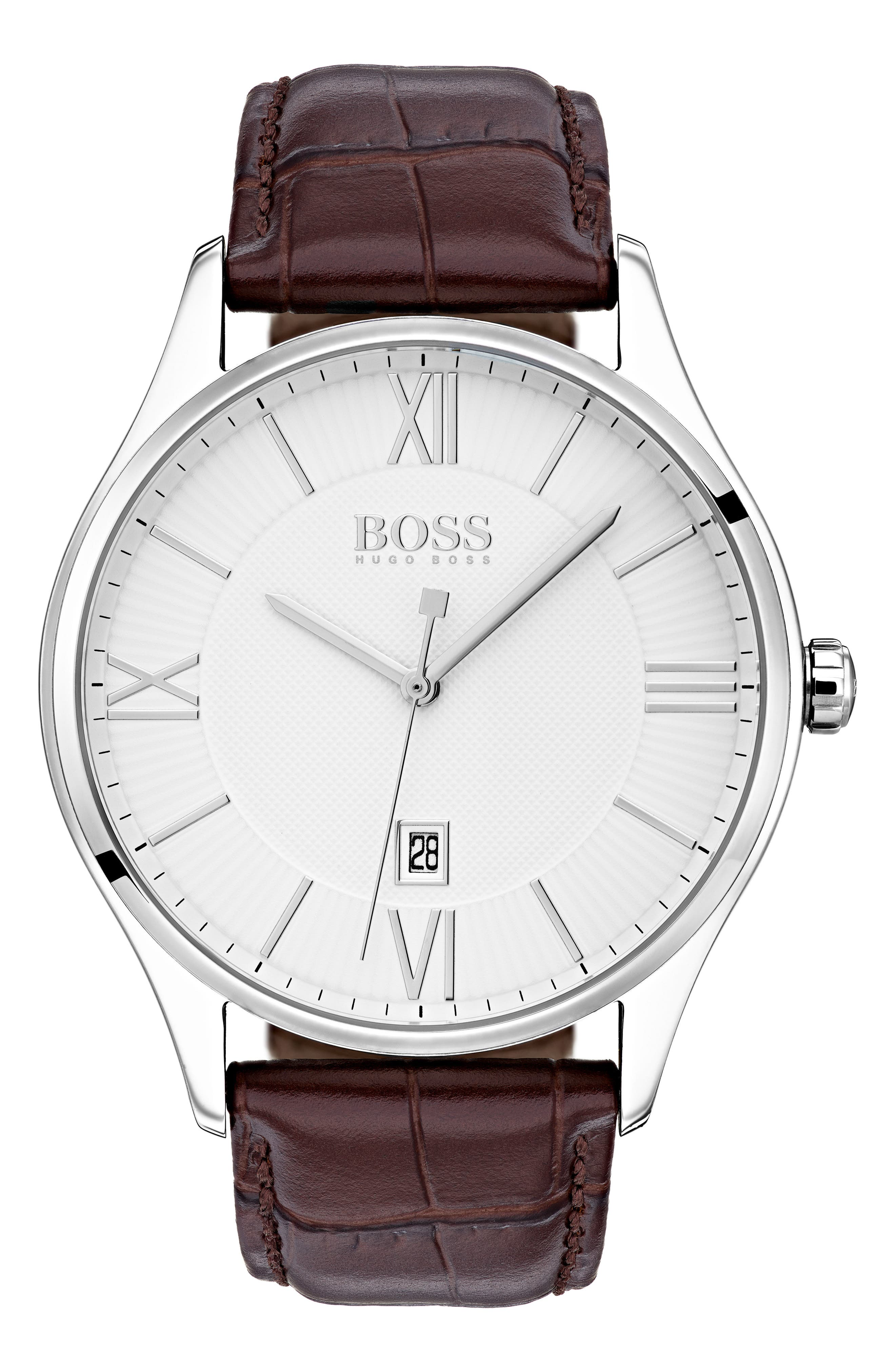 Governor Leather Strap Watch, 44mm,                         Main,                         color, White/ Brown