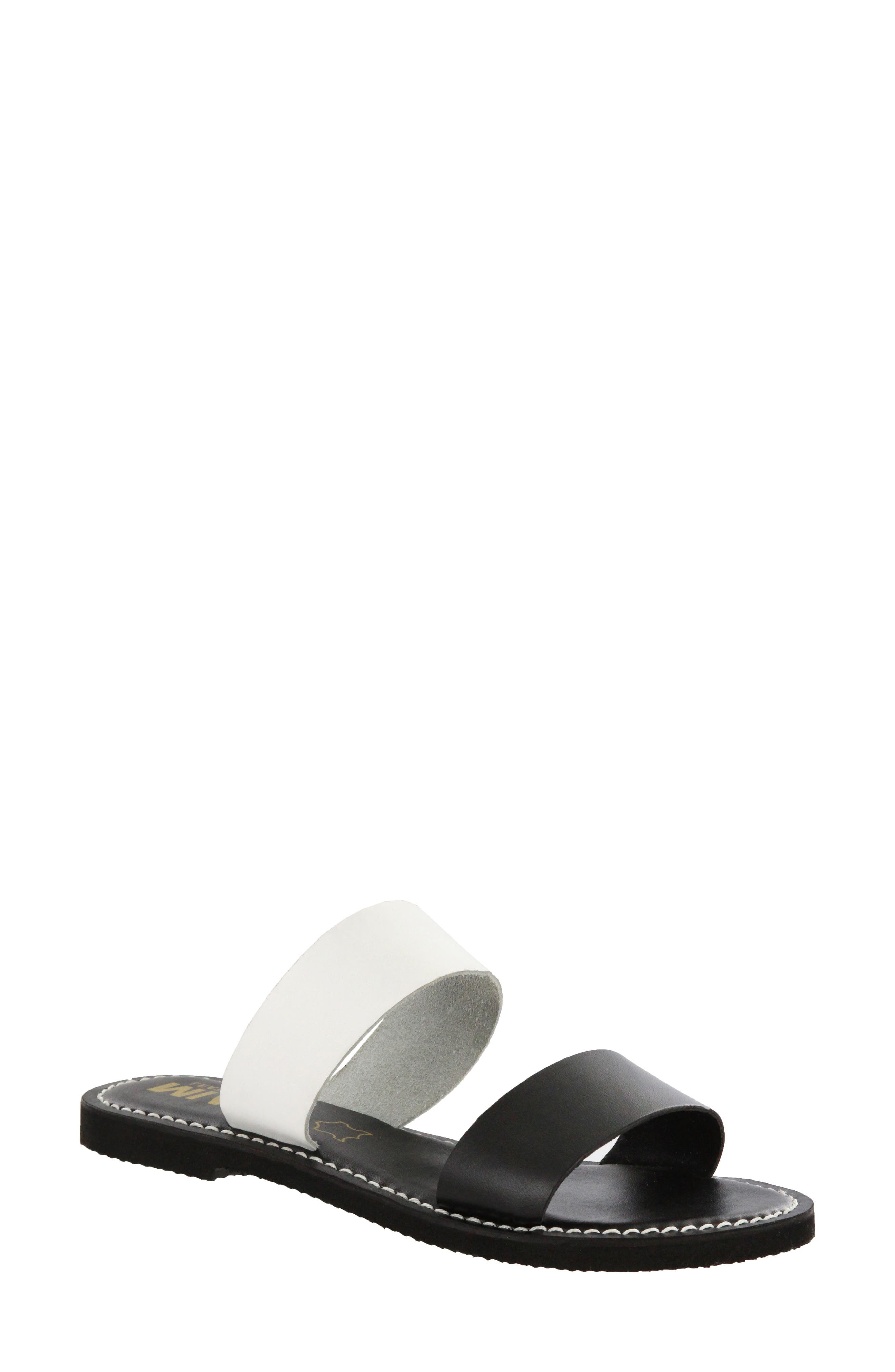 Nila Two-Band Slide Sandal,                             Main thumbnail 1, color,                             Black/ White Leather