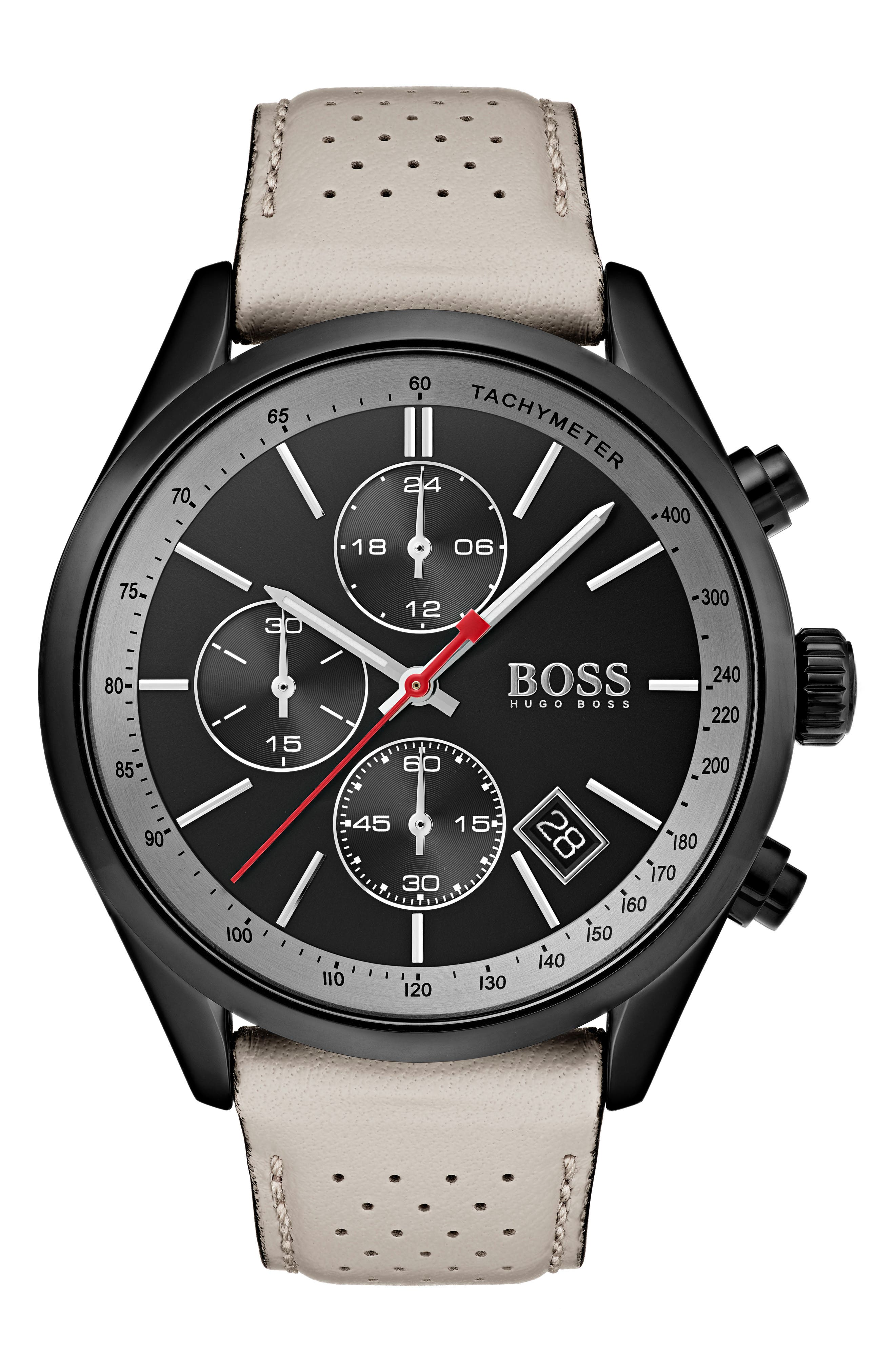 Main Image - BOSS Grand Prix Leather Strap Chronograph Watch, 44mm