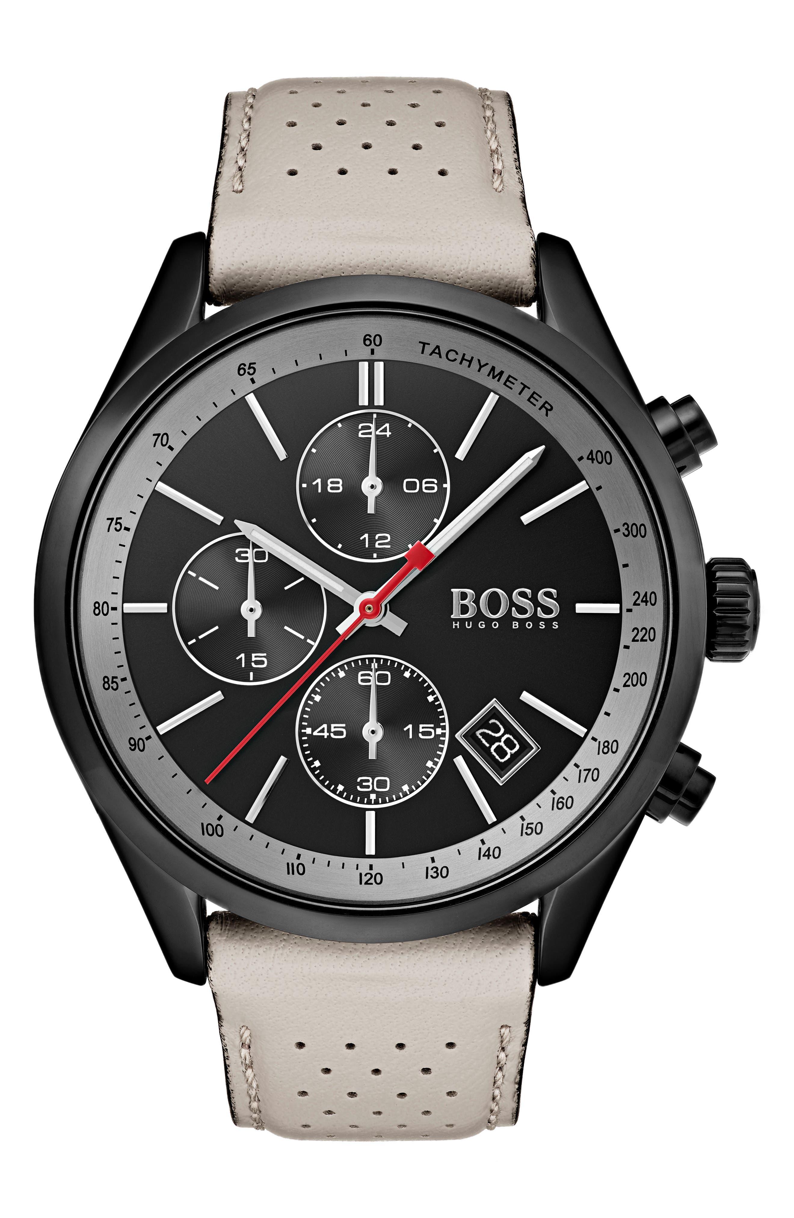 Grand Prix Leather Strap Chronograph Watch, 44mm,                         Main,                         color, Black/ Beige