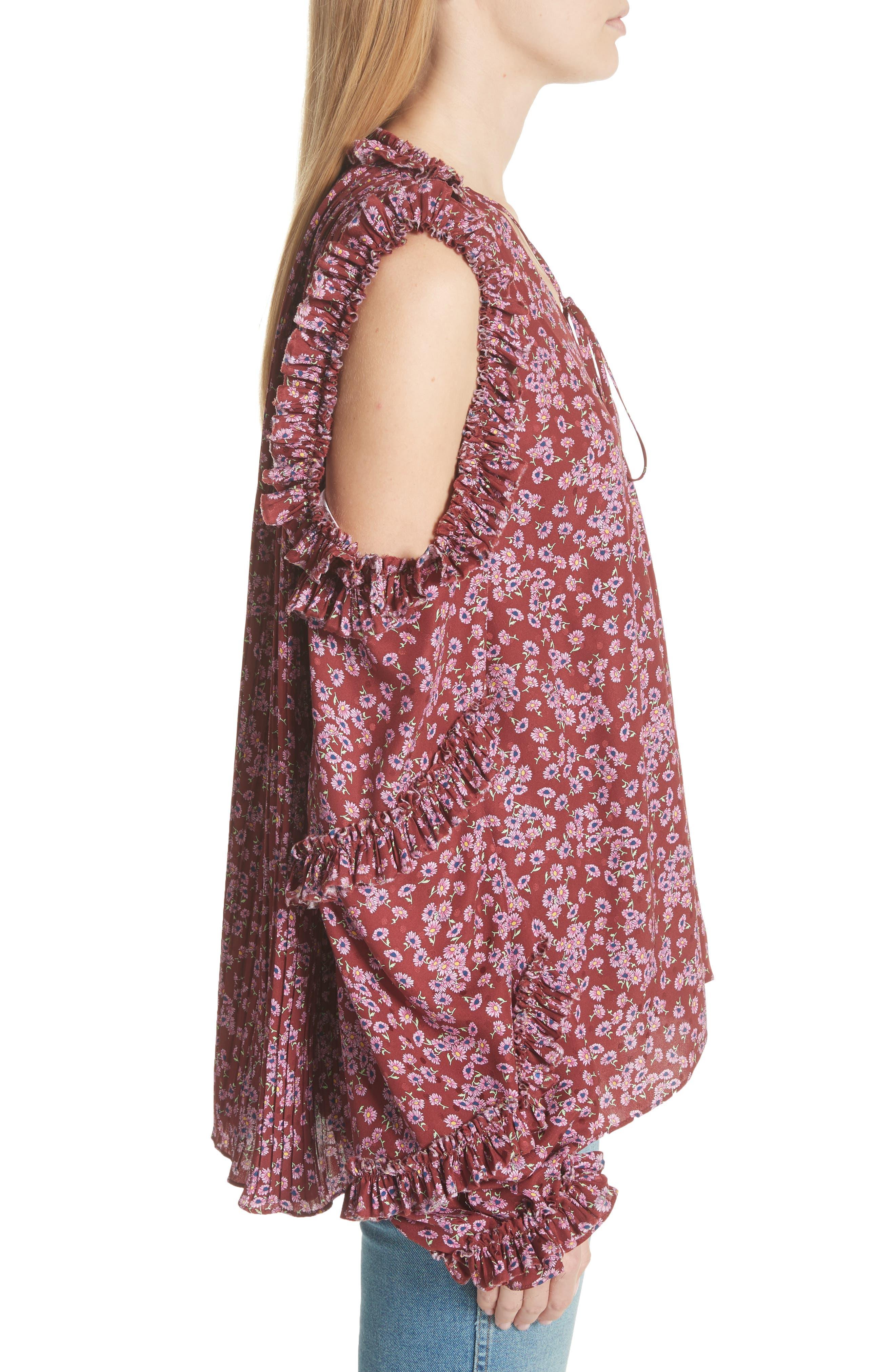 Alternate Image 3  - Magda Butrym Floral Silk Cold Shoulder Top
