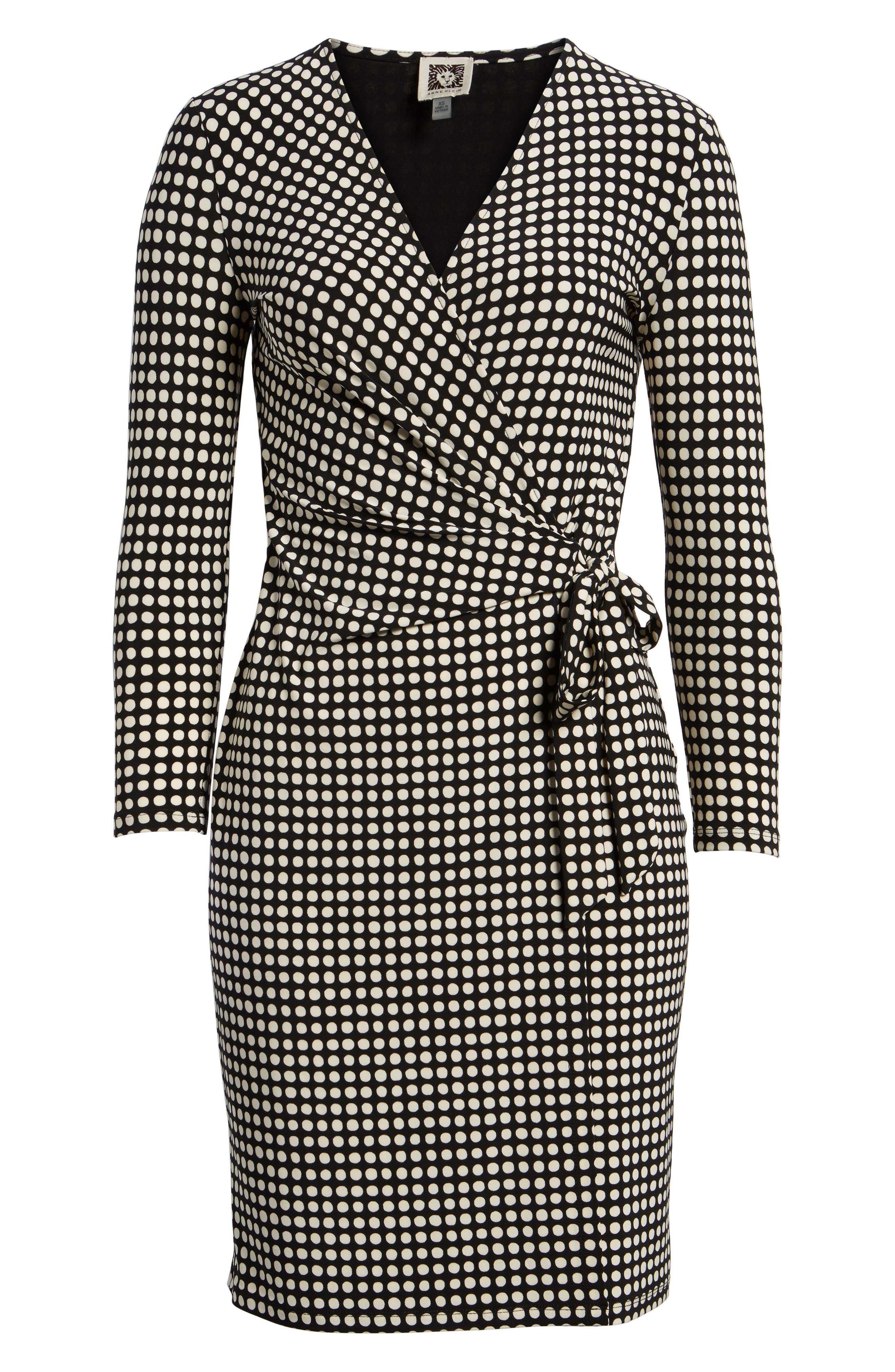 New York Pearly Dot Classic Wrap Dress,                             Alternate thumbnail 6, color,                             Black/ Parchment