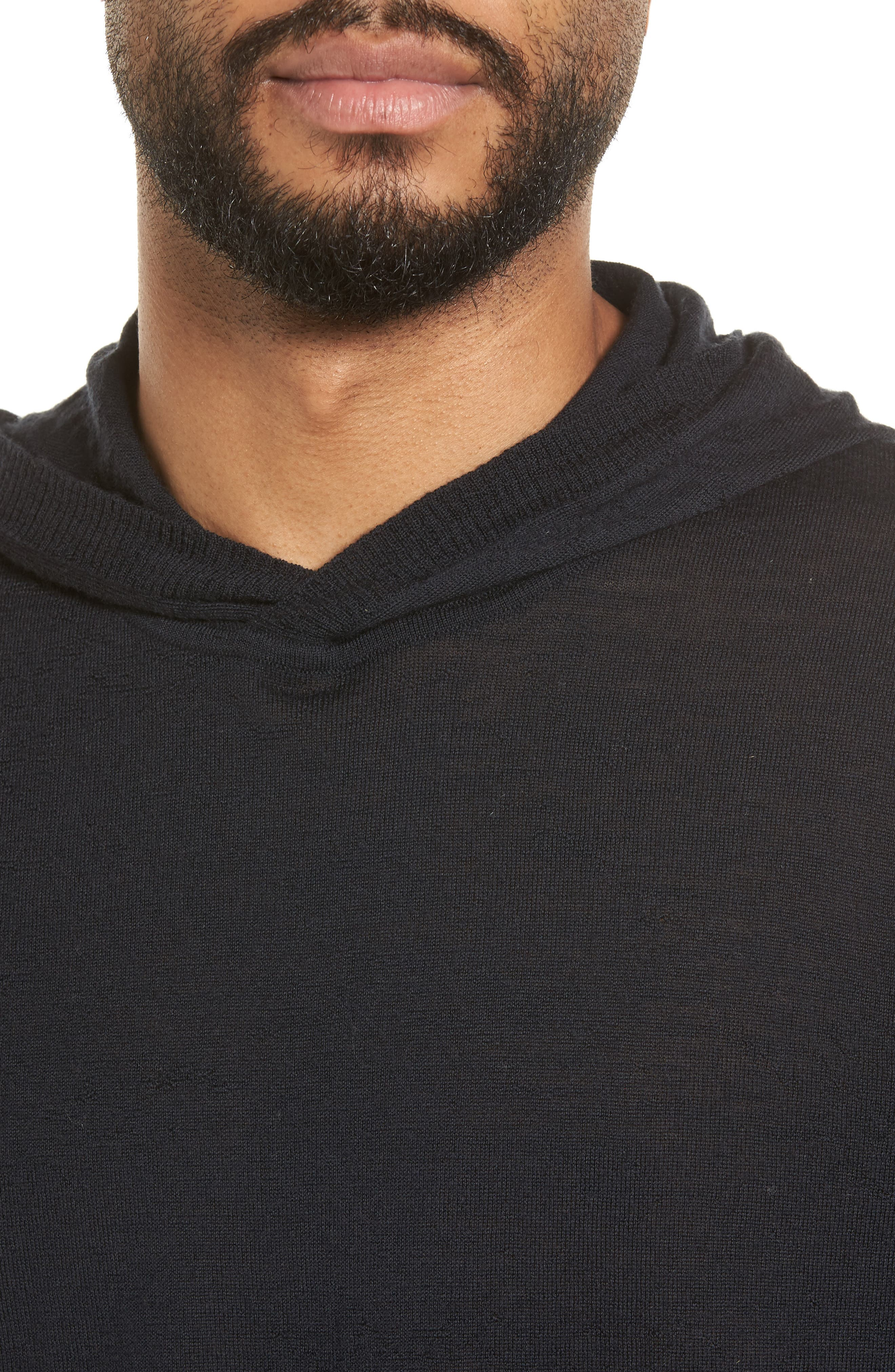 Regular Fit Wool Pullover Hoodie,                             Alternate thumbnail 4, color,                             Black