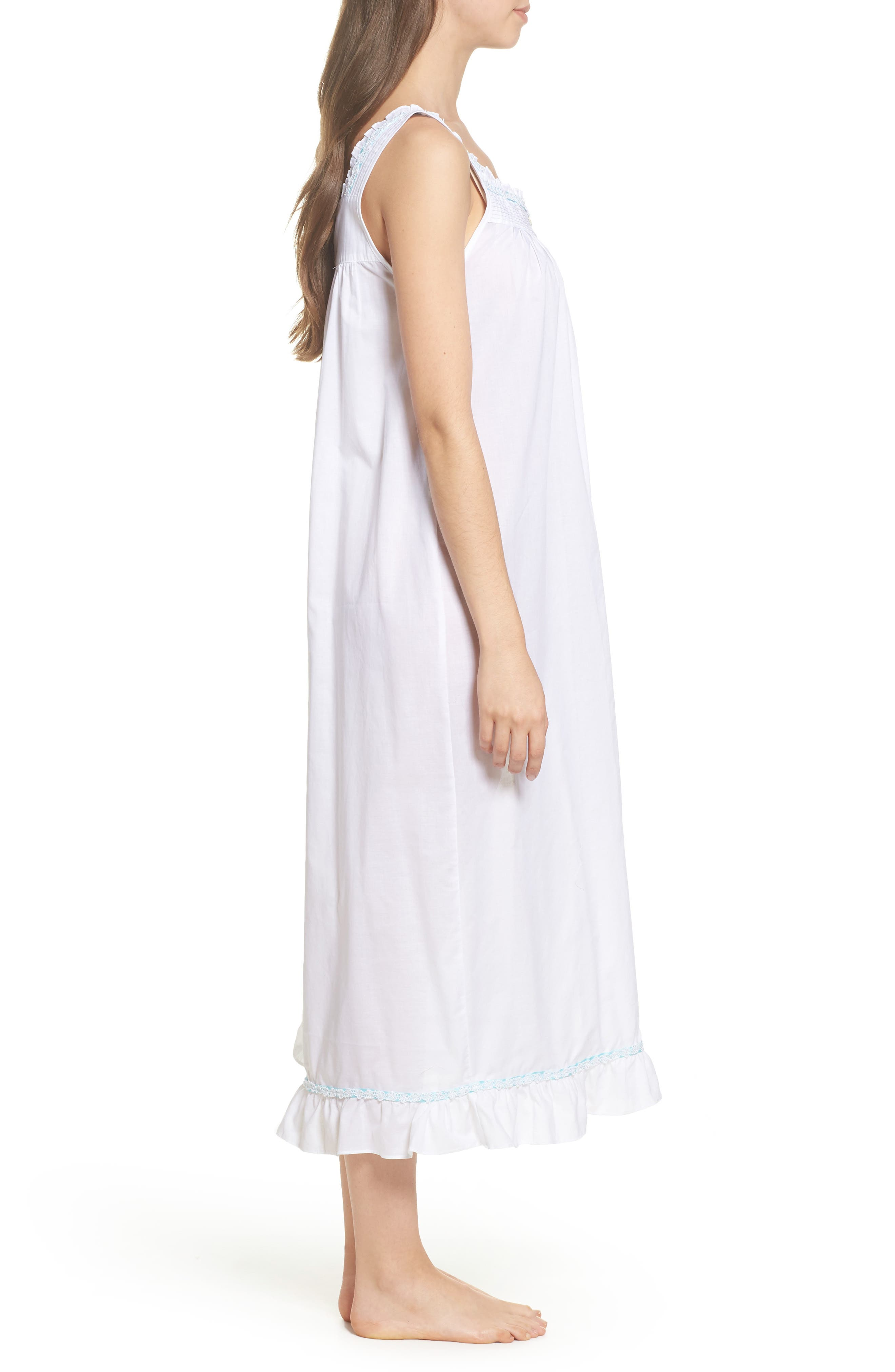 Cotton Lawn Ballet Nightgown,                             Alternate thumbnail 3, color,                             Solid White