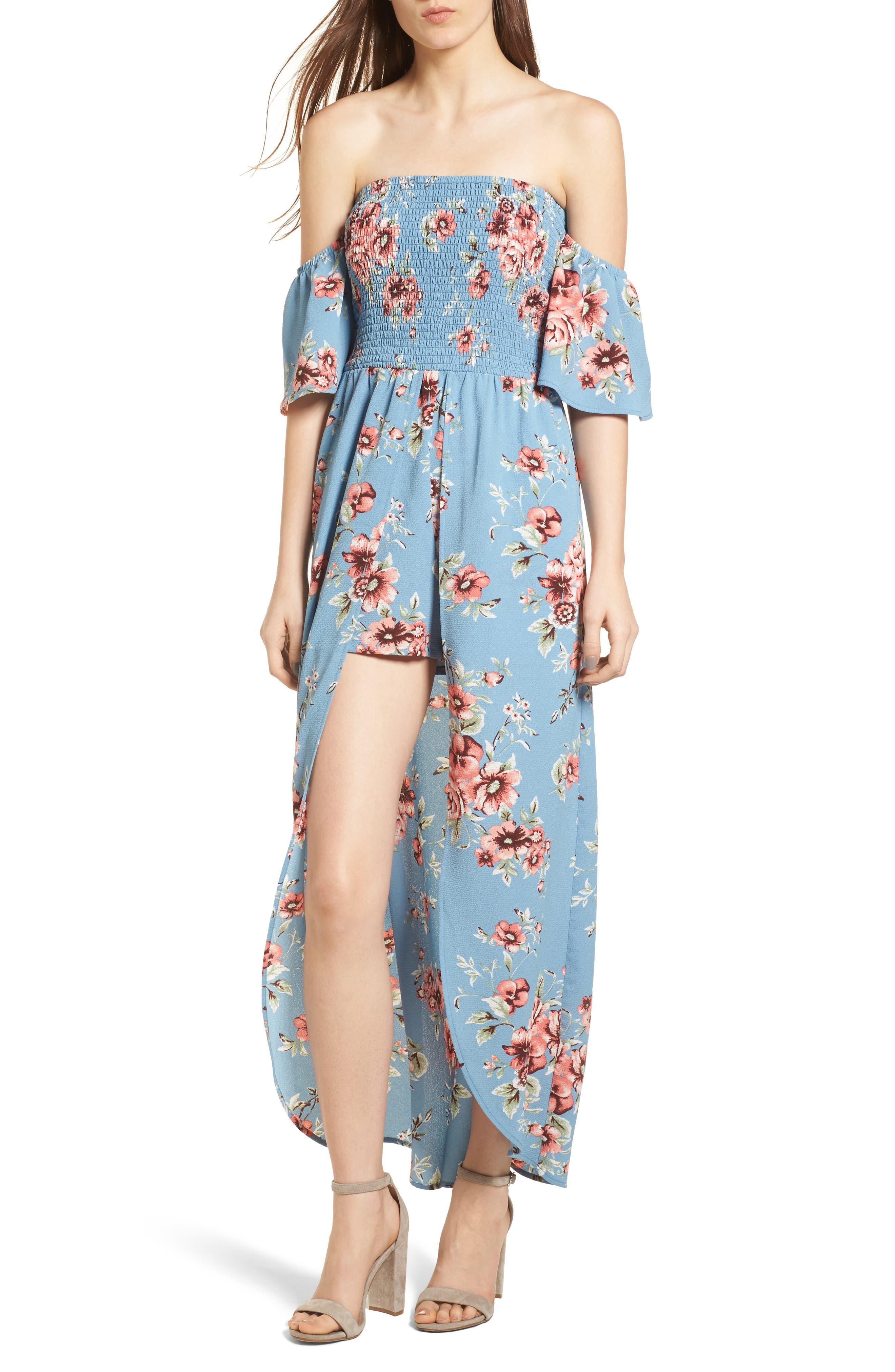 Off the Shoulder Maxi Romper,                         Main,                         color, Blue Floral