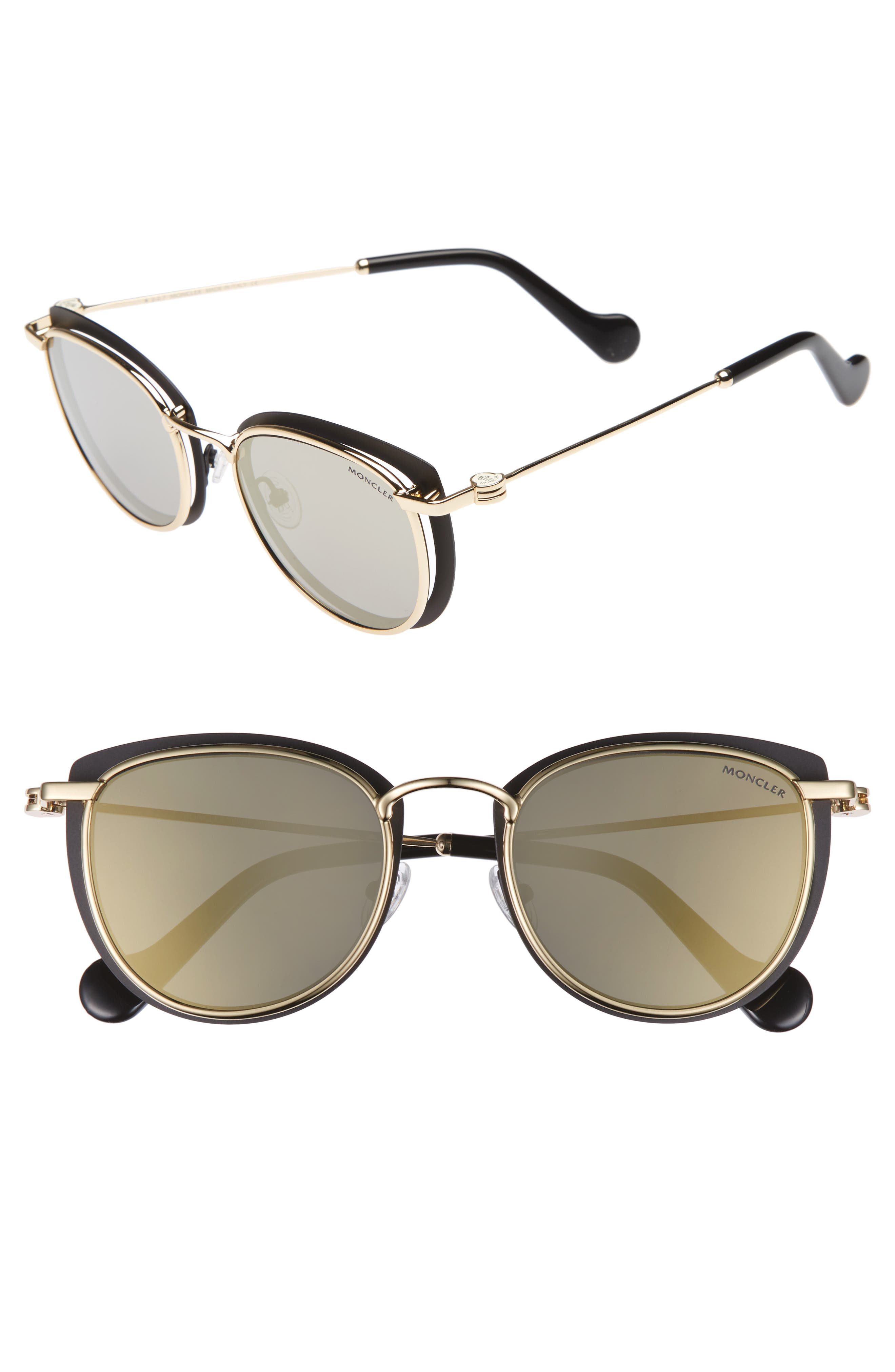 50mm Mirrored Geometric Sunglasses,                         Main,                         color, Black/ Pale Gold/ Smoke/ Gold