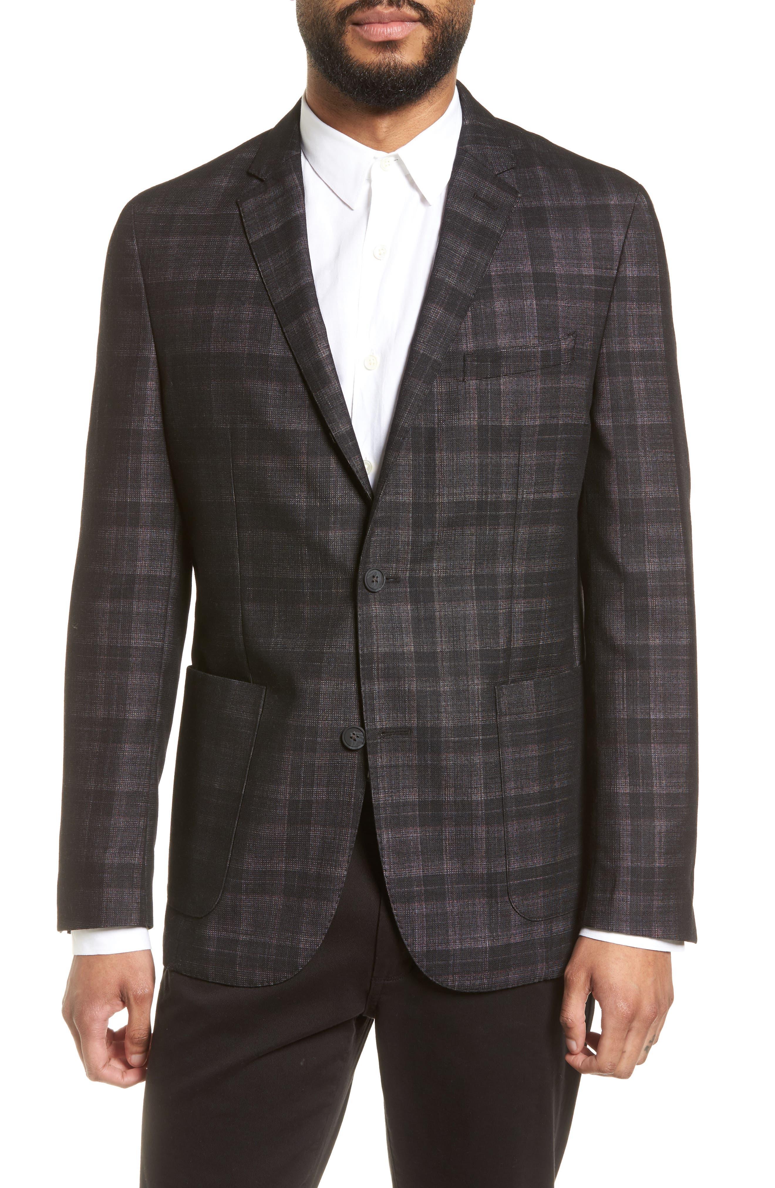 Delaria Plaid Wool Blend Jacket,                         Main,                         color, Black Grin Thru