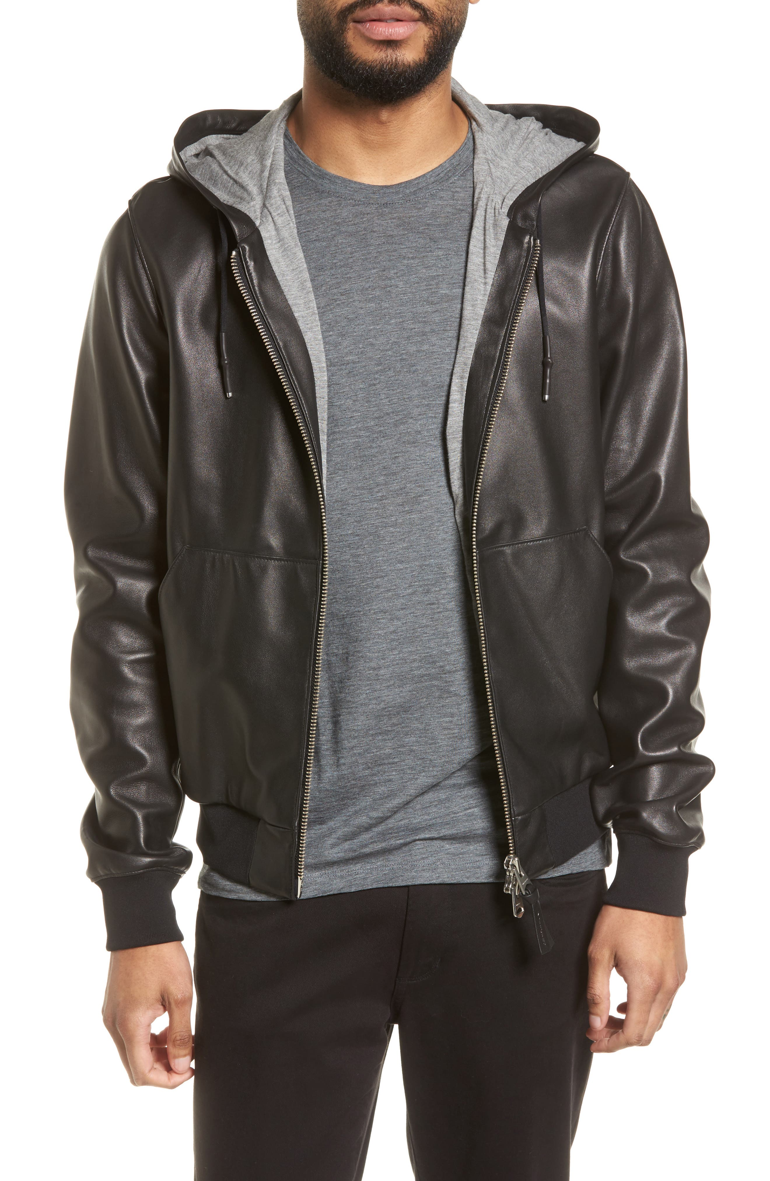 Hooded Leather Jacket,                         Main,                         color, Black