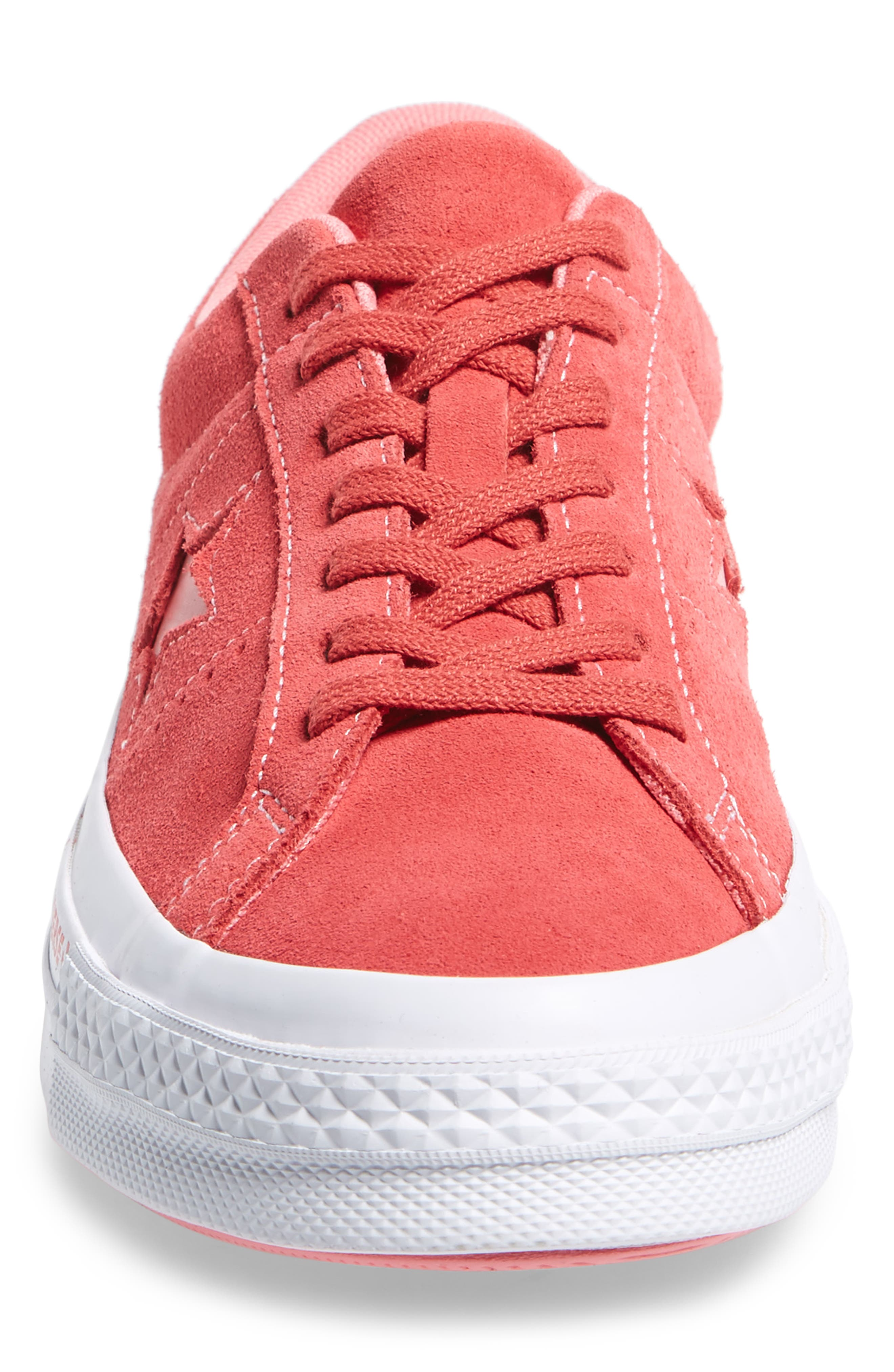 Chuck Taylor<sup>®</sup> One Star Pinstripe Sneaker,                             Alternate thumbnail 4, color,                             Paradise Pink Suede