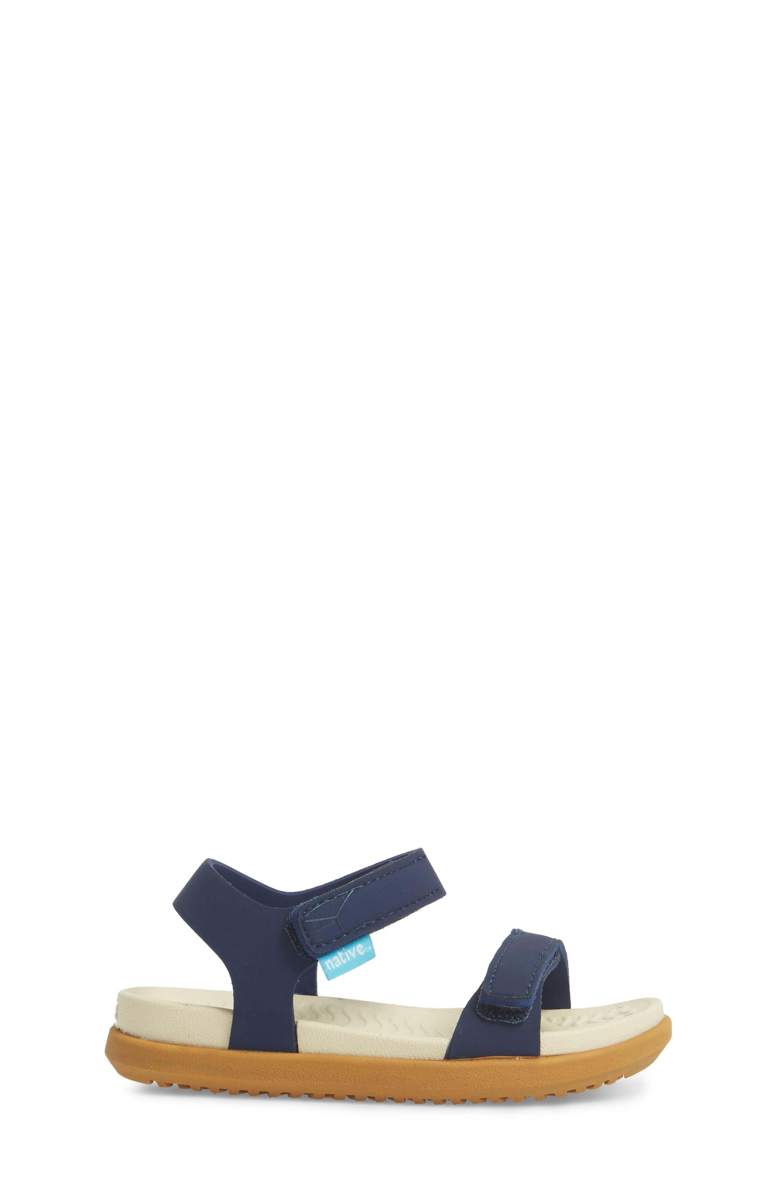 Charley Child Waterproof Flat Sandal,                             Alternate thumbnail 3, color,                             Blue/ Bone White/ Toffee