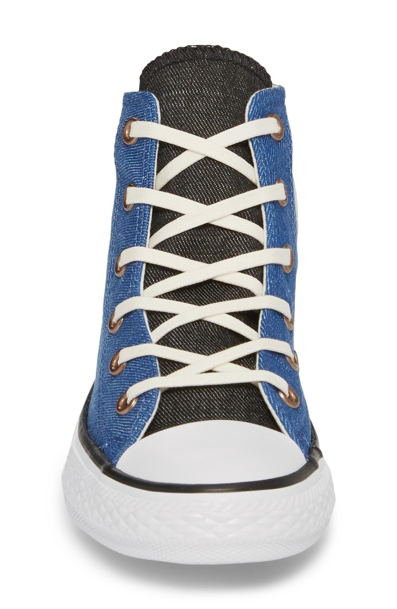 Chuck Taylor<sup>®</sup> All Star<sup>®</sup> Chambray High Top Sneaker,                             Alternate thumbnail 4, color,                             Nightfall Blue