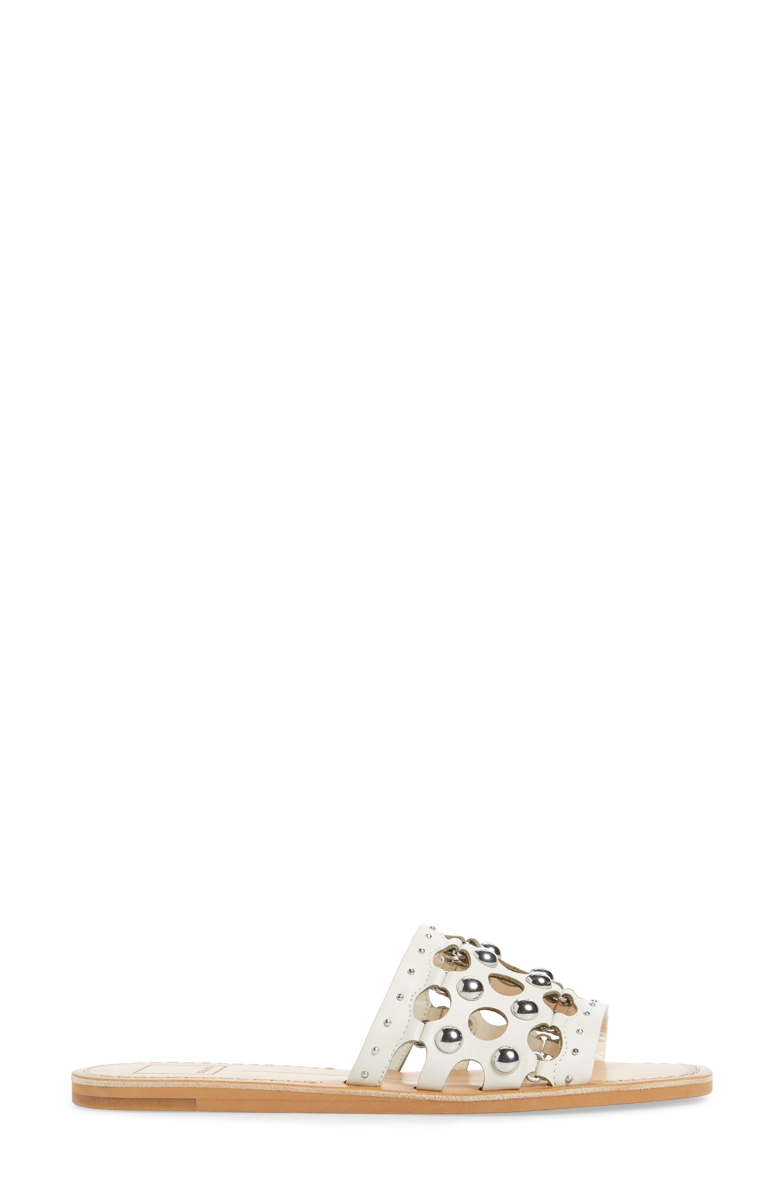 Celita Perforated Studded Slide Sandal,                             Alternate thumbnail 3, color,                             White