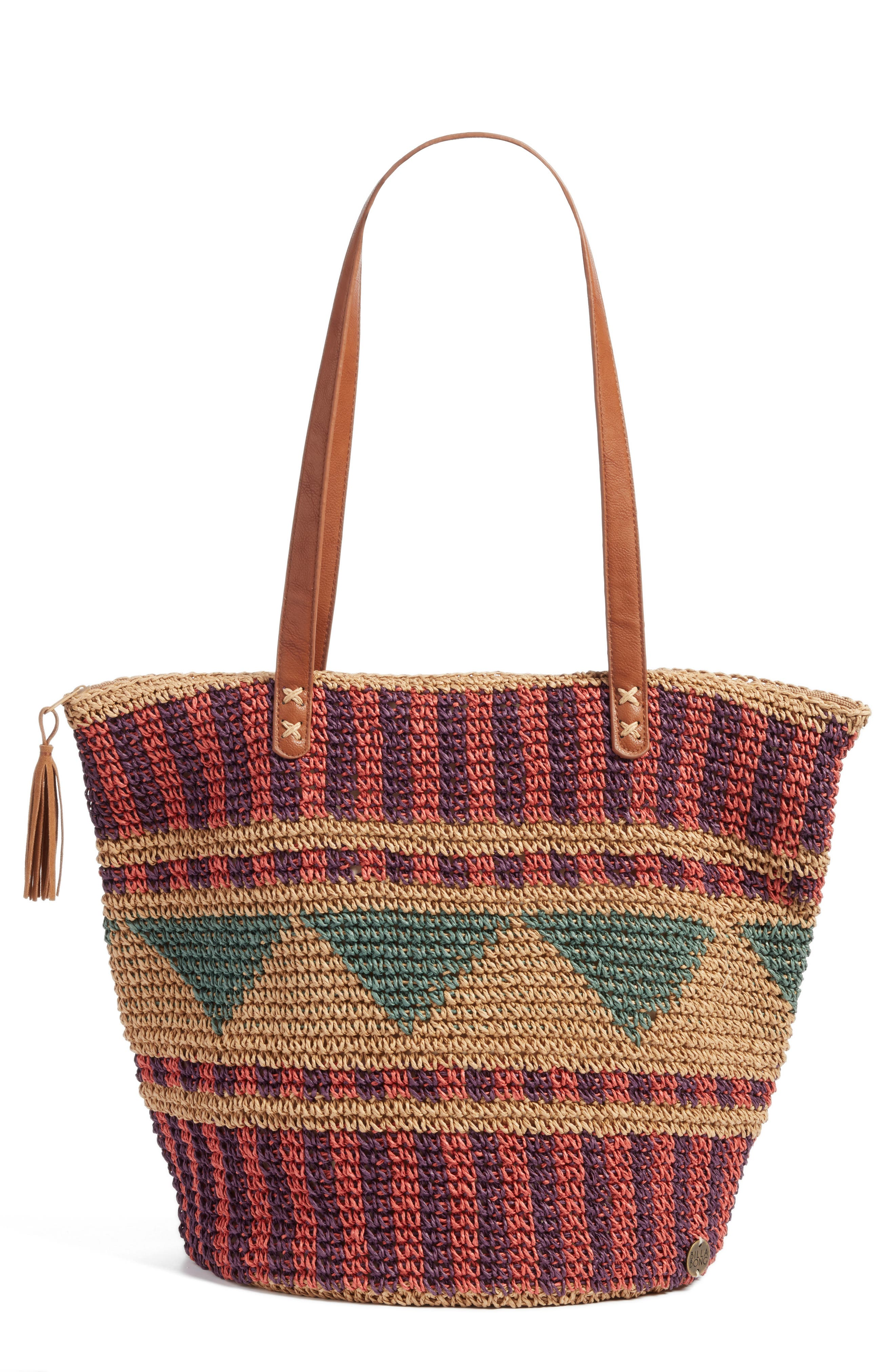 East of Dover Print Straw Tote,                         Main,                         color, Rosewater