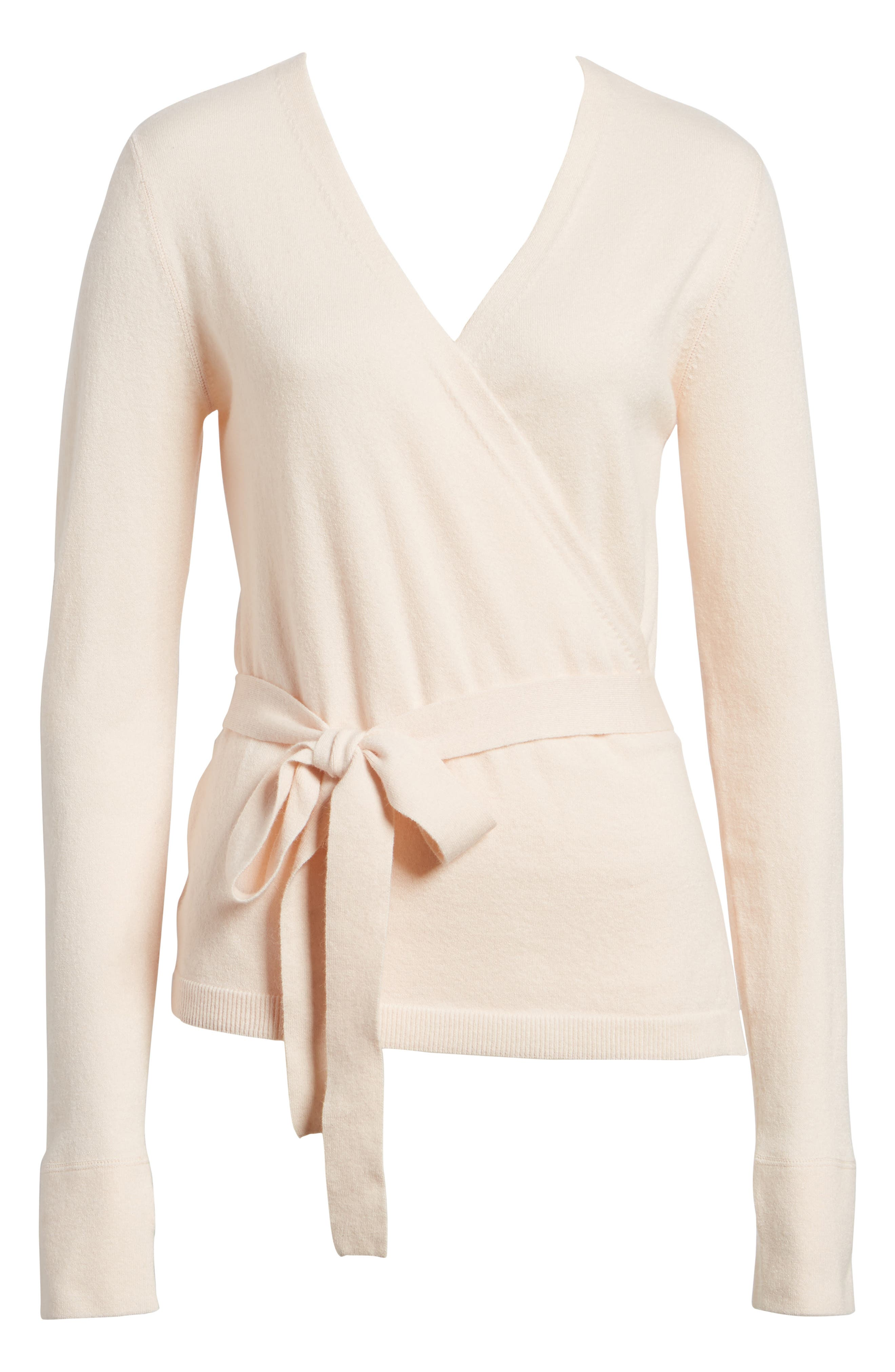 Off-Duty Ballet Tie Front Sweater,                             Alternate thumbnail 6, color,                             Pink Morganite