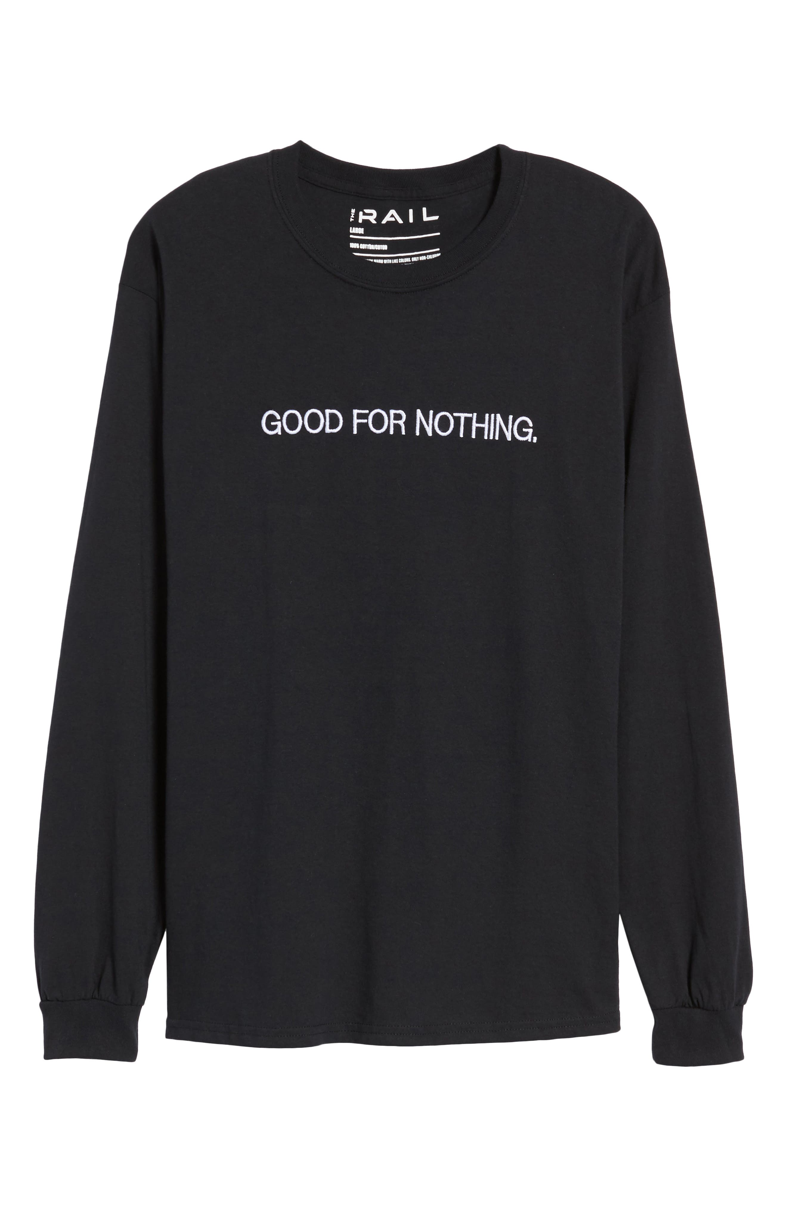 Good for Nothing Embroidered T-Shirt,                             Alternate thumbnail 6, color,                             Black Good For