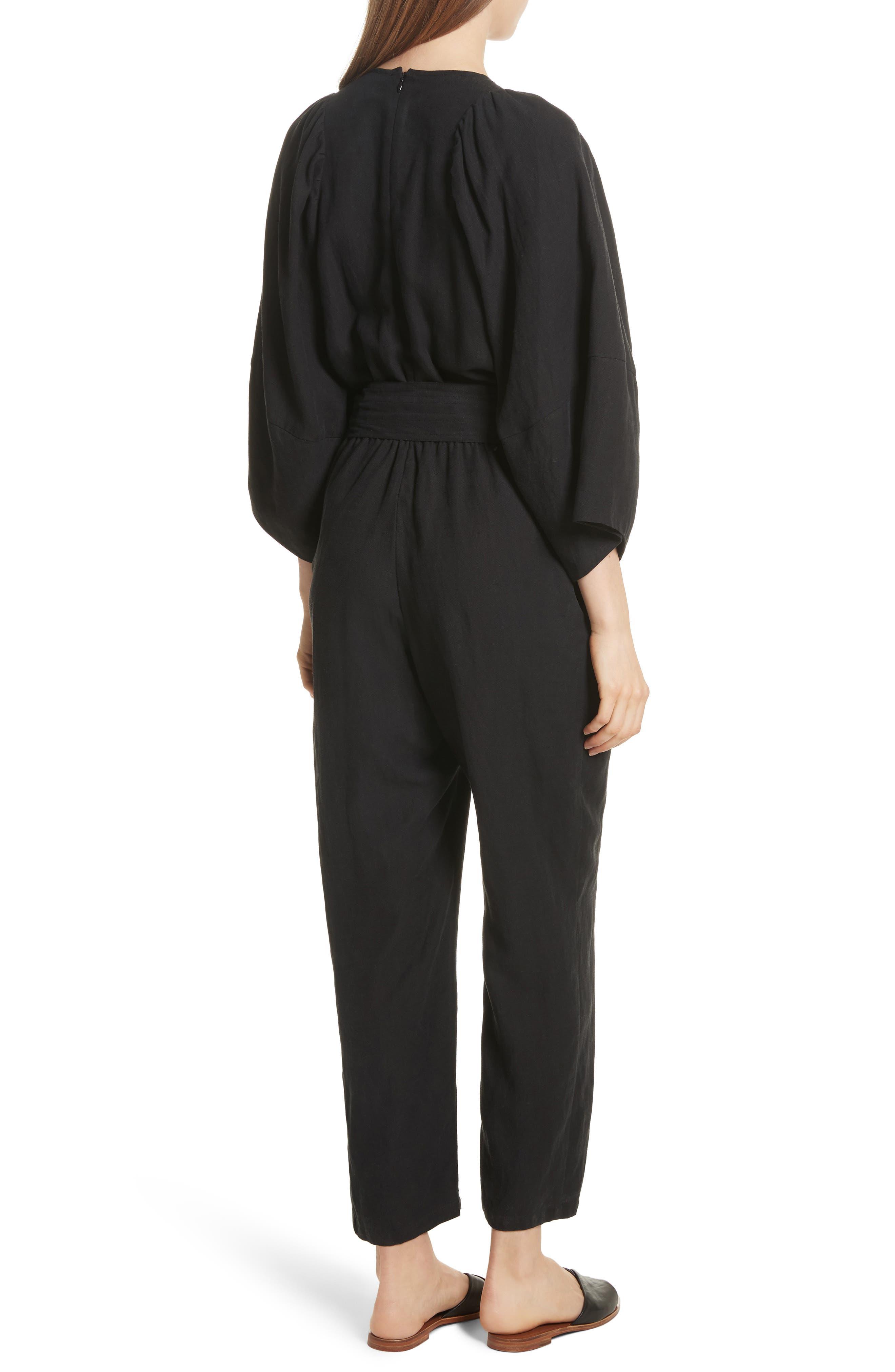 Meru Wrap Front Jumpsuit,                             Alternate thumbnail 2, color,                             Black