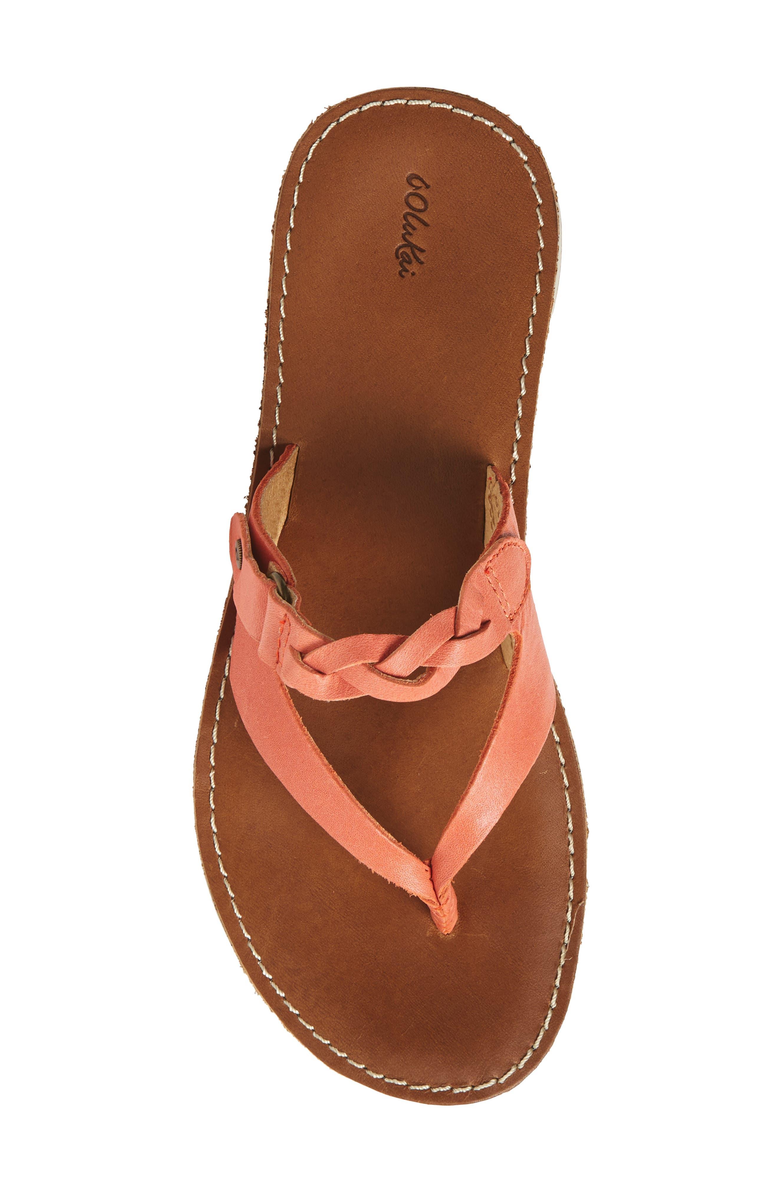 Kahikolu Flip Flop,                             Alternate thumbnail 5, color,                             Peach/ Tan Leather