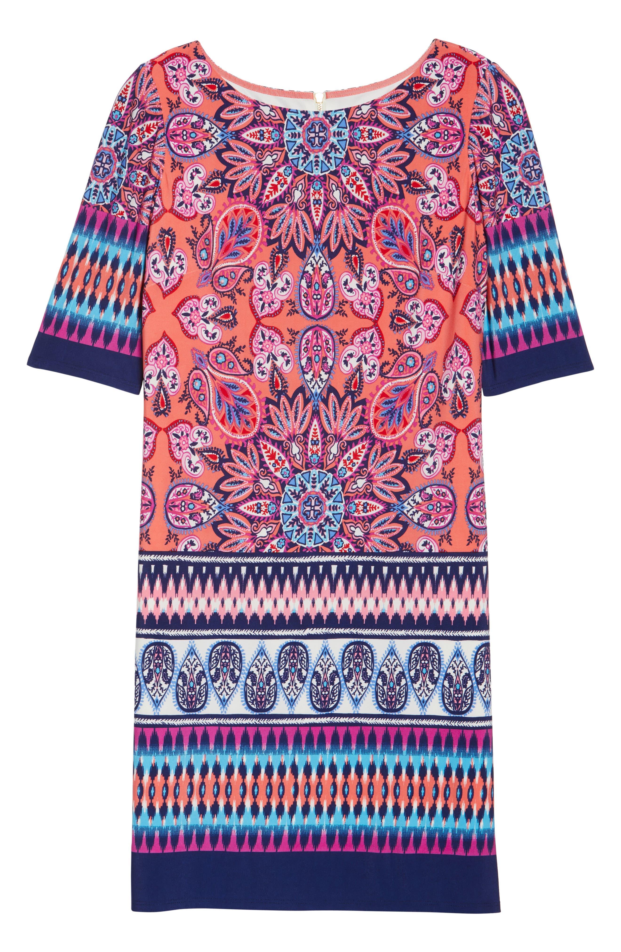 Print Sheath Dress,                             Alternate thumbnail 6, color,                             Red/ Pink