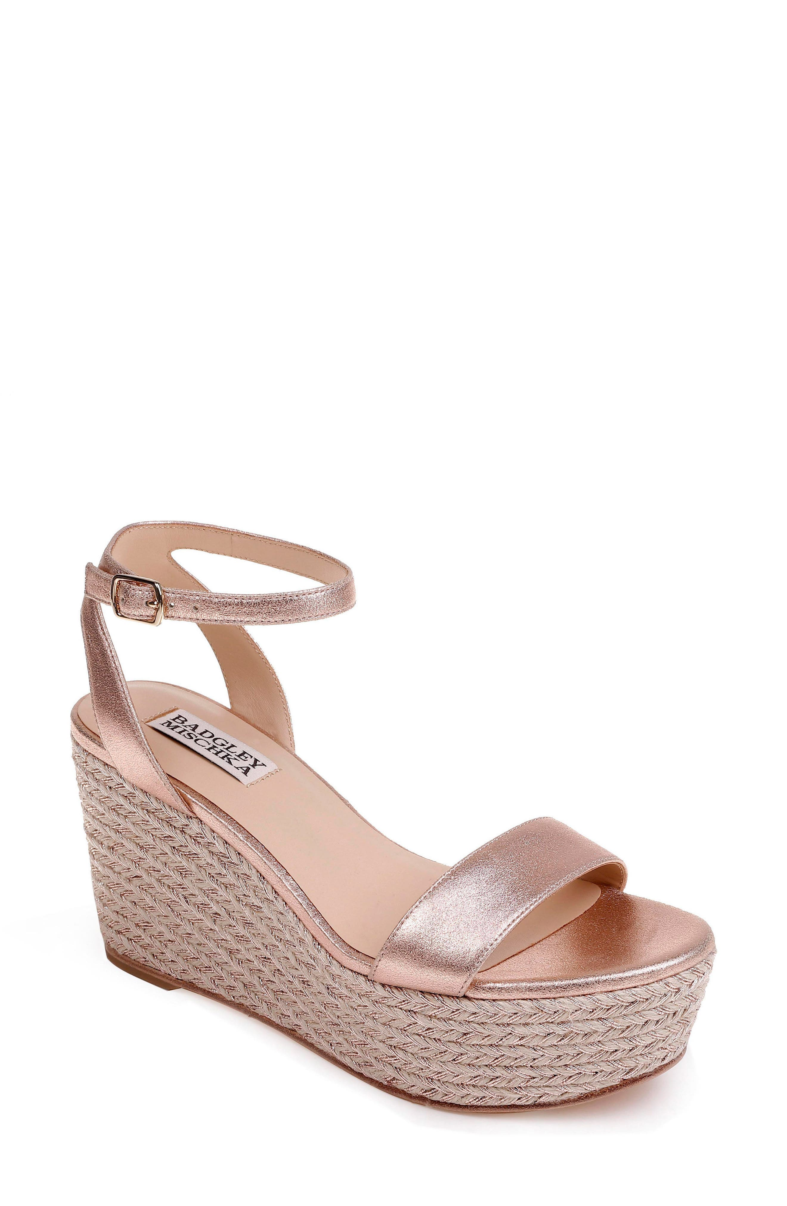 Holmes Espadrille Wedge,                             Main thumbnail 1, color,                             Rose Gold Metallic Suede