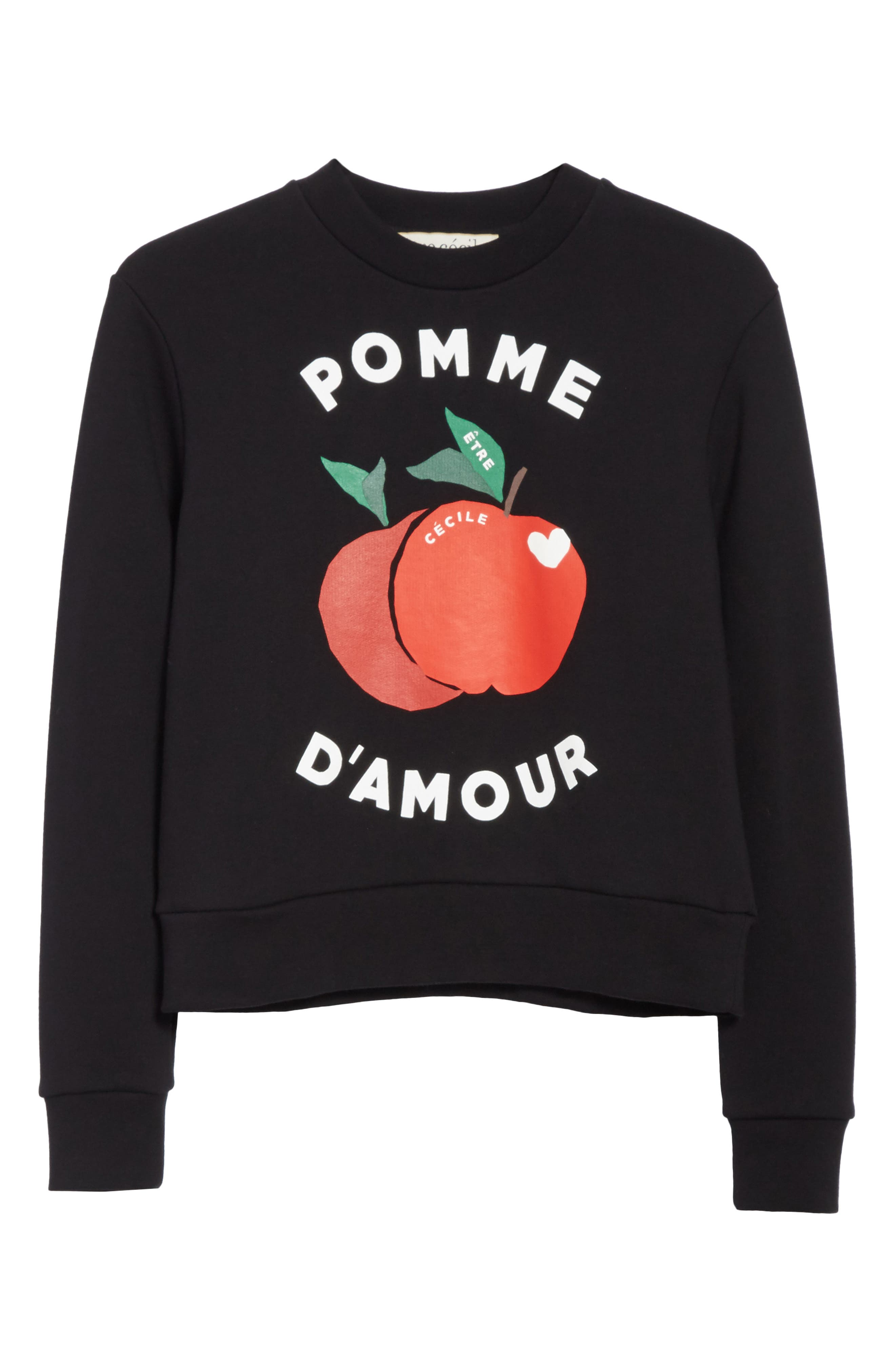 être cécile Pomme d'Amour Sweatshirt,                             Alternate thumbnail 6, color,                             Black
